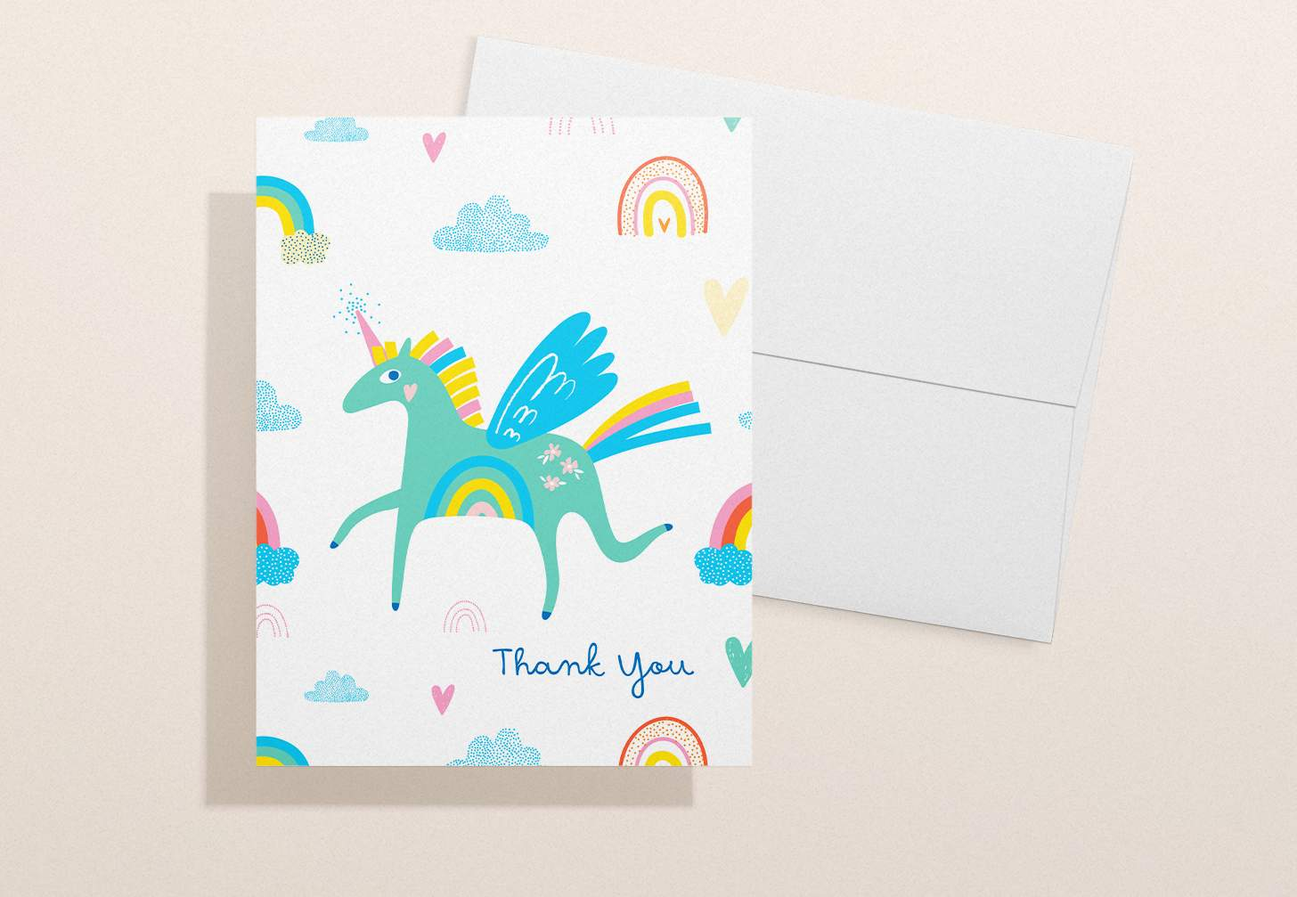Green unicorn design with white envelope