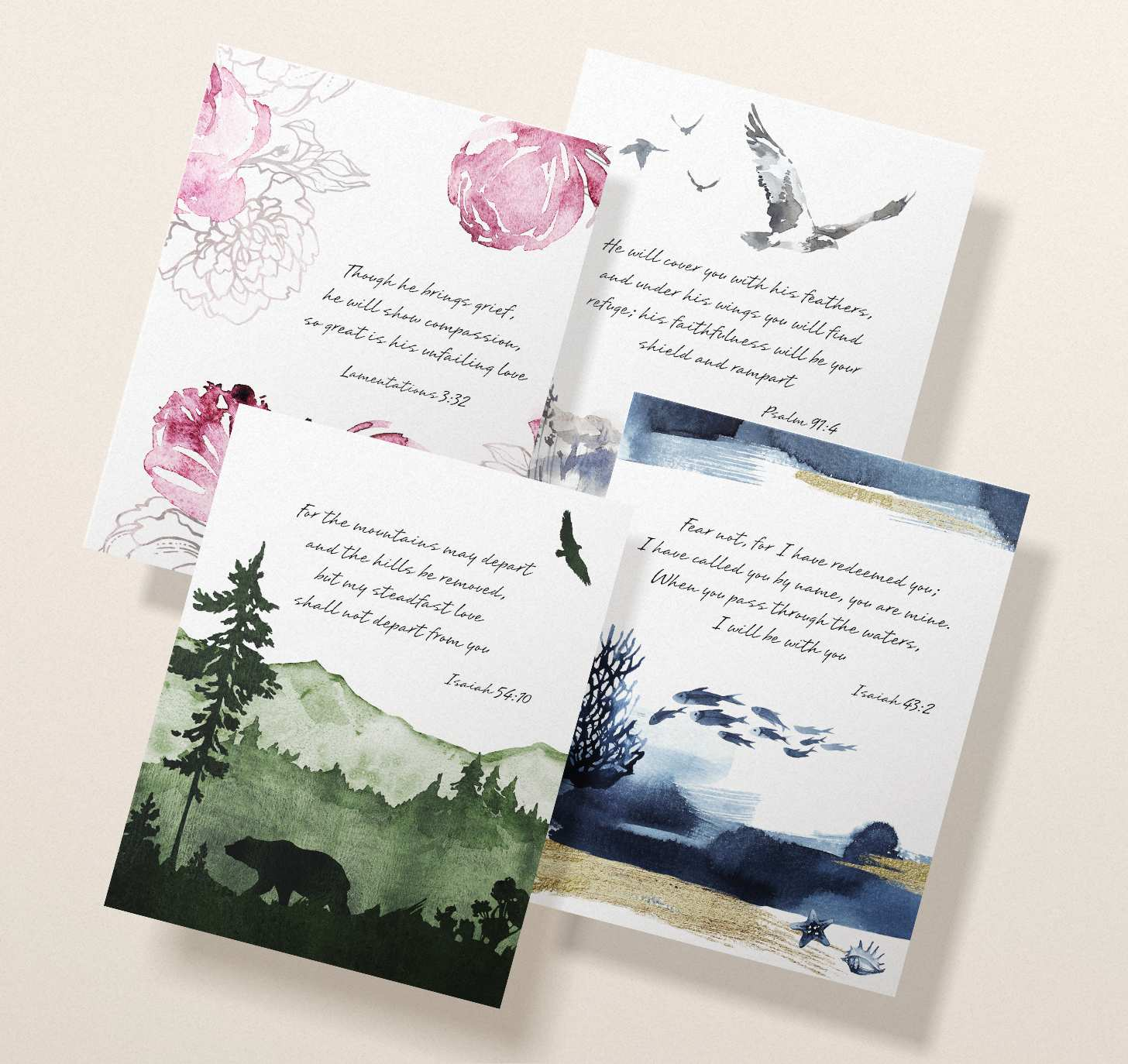 Four overlapping sympathy cards with pink, green, blue, and gray themes