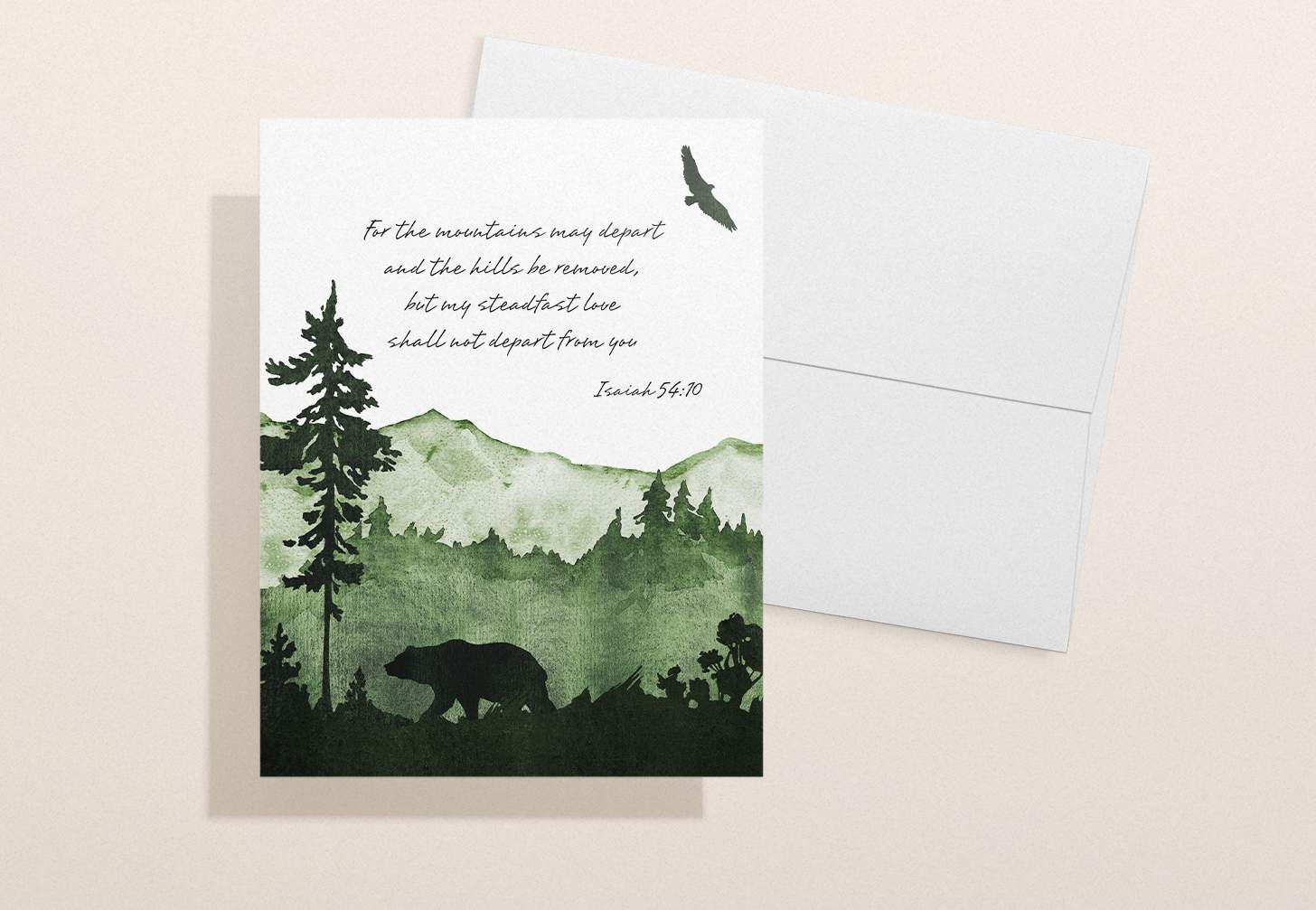 Green mountain themed sympathy card with white envelope