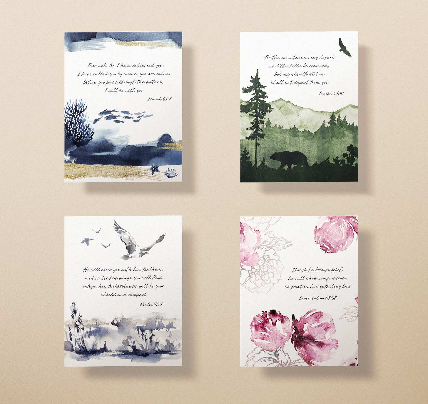 Four sympathy cards with pink, green, gray, and blue designs