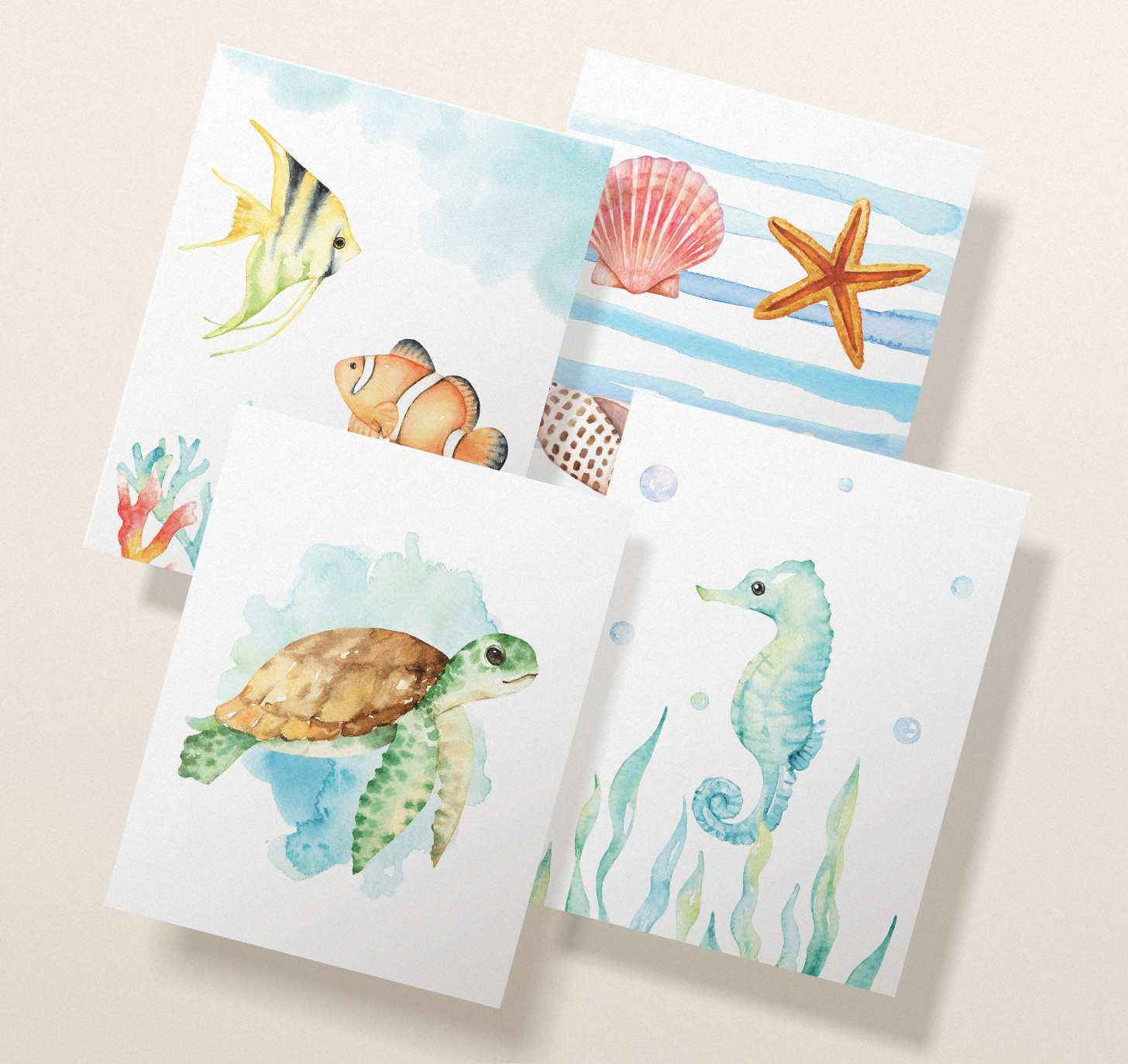Four overlapping cards with watercolor seashells, sea turtle, fish, and seahorse designs