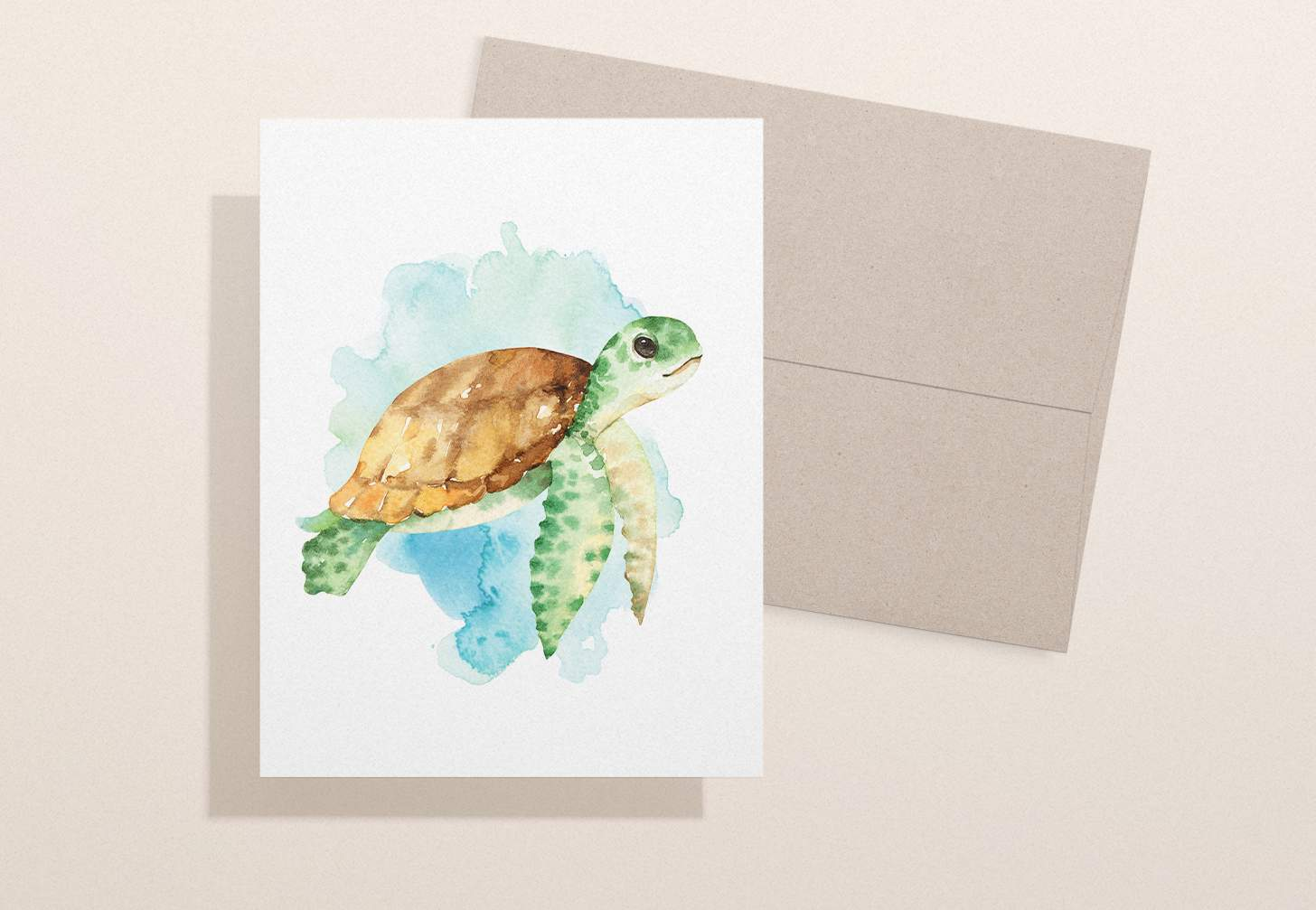 Watercolor sea turtle swimming design with brown envelope