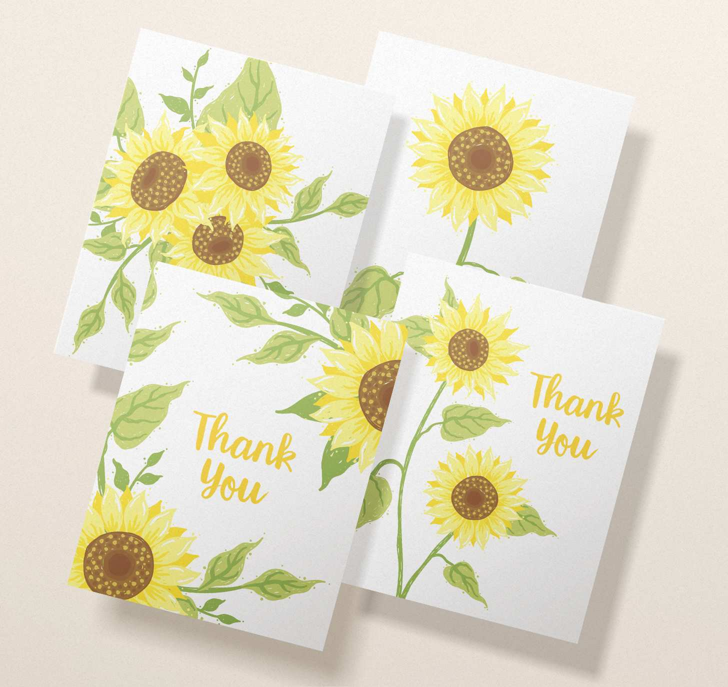 Four overlapping assorted yellow sunflower card designs