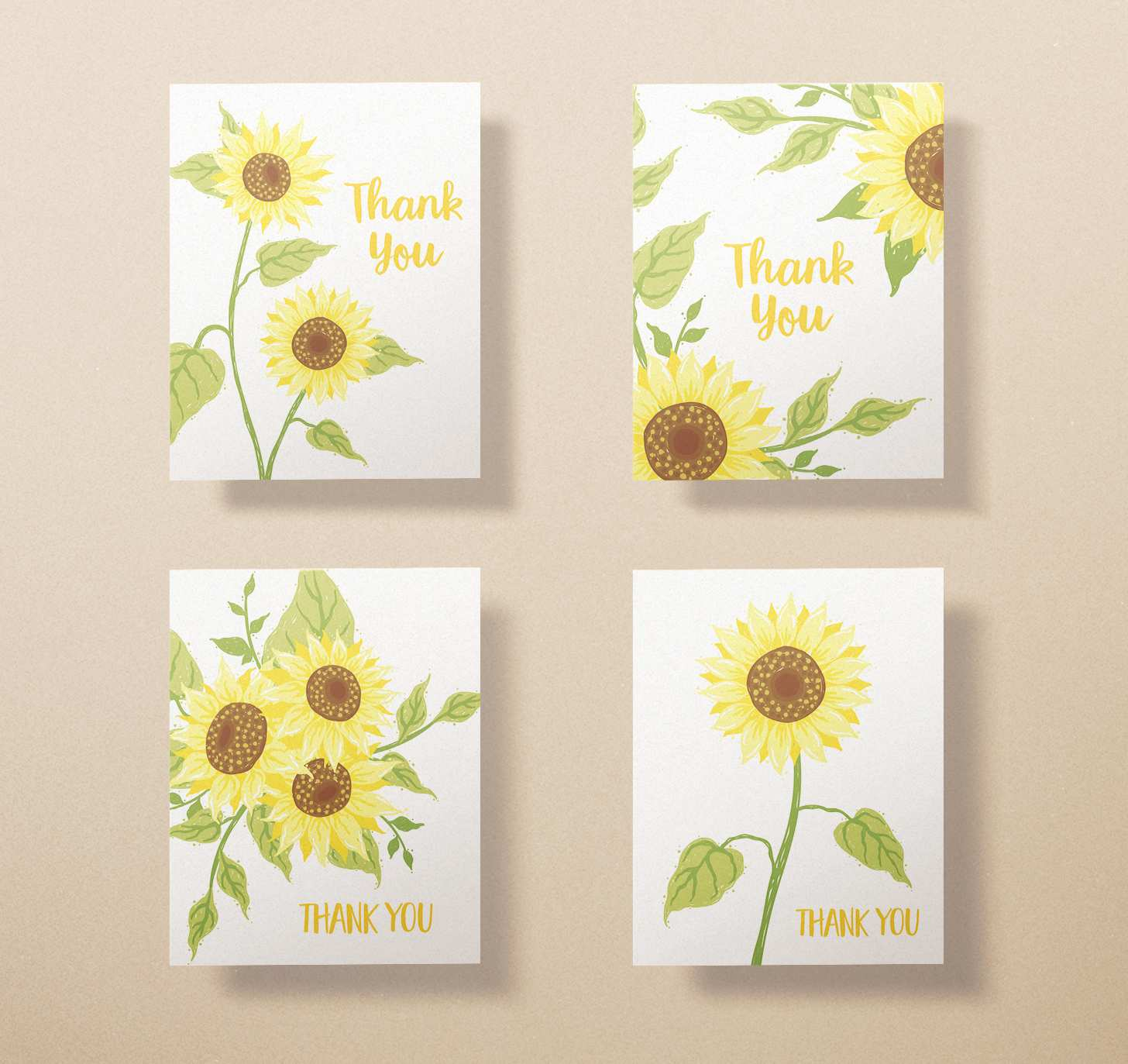 Four assorted yellow sunflower card designs