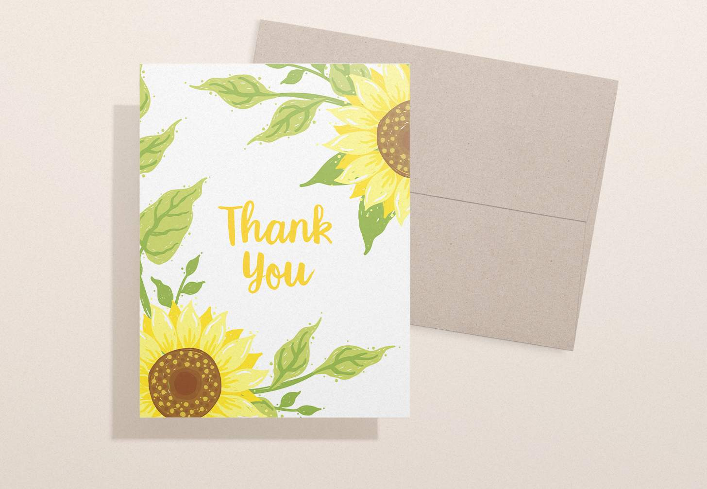 Card with two yellow sunflowers with a brown envelope