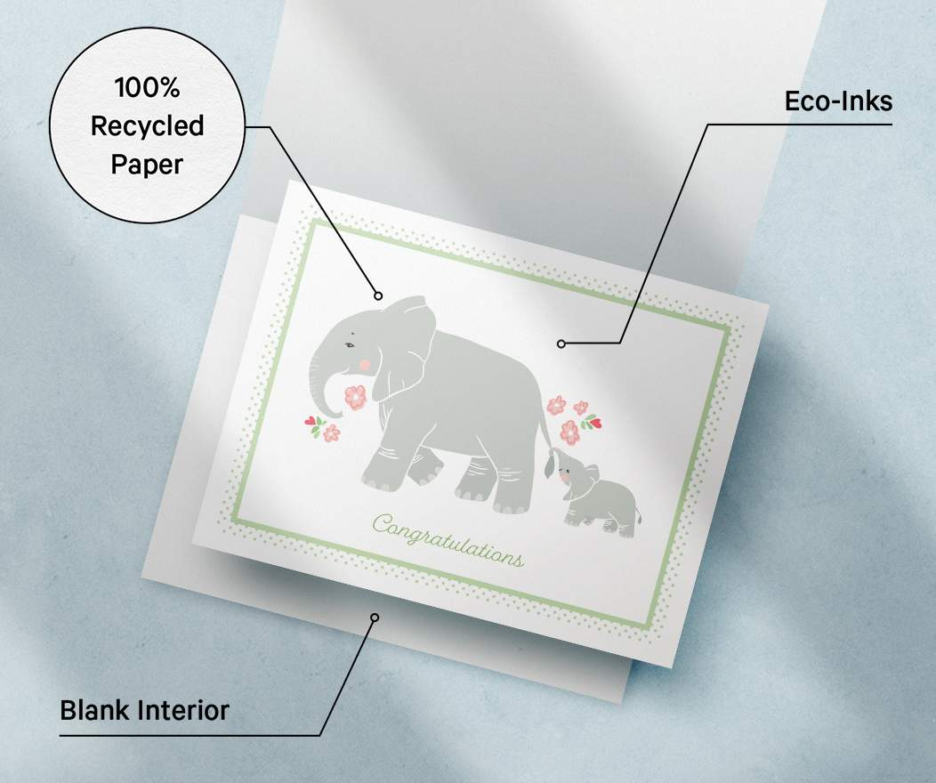 Card specifications info: 100% Recycled Paper, Eco Inks, Blank Interior.