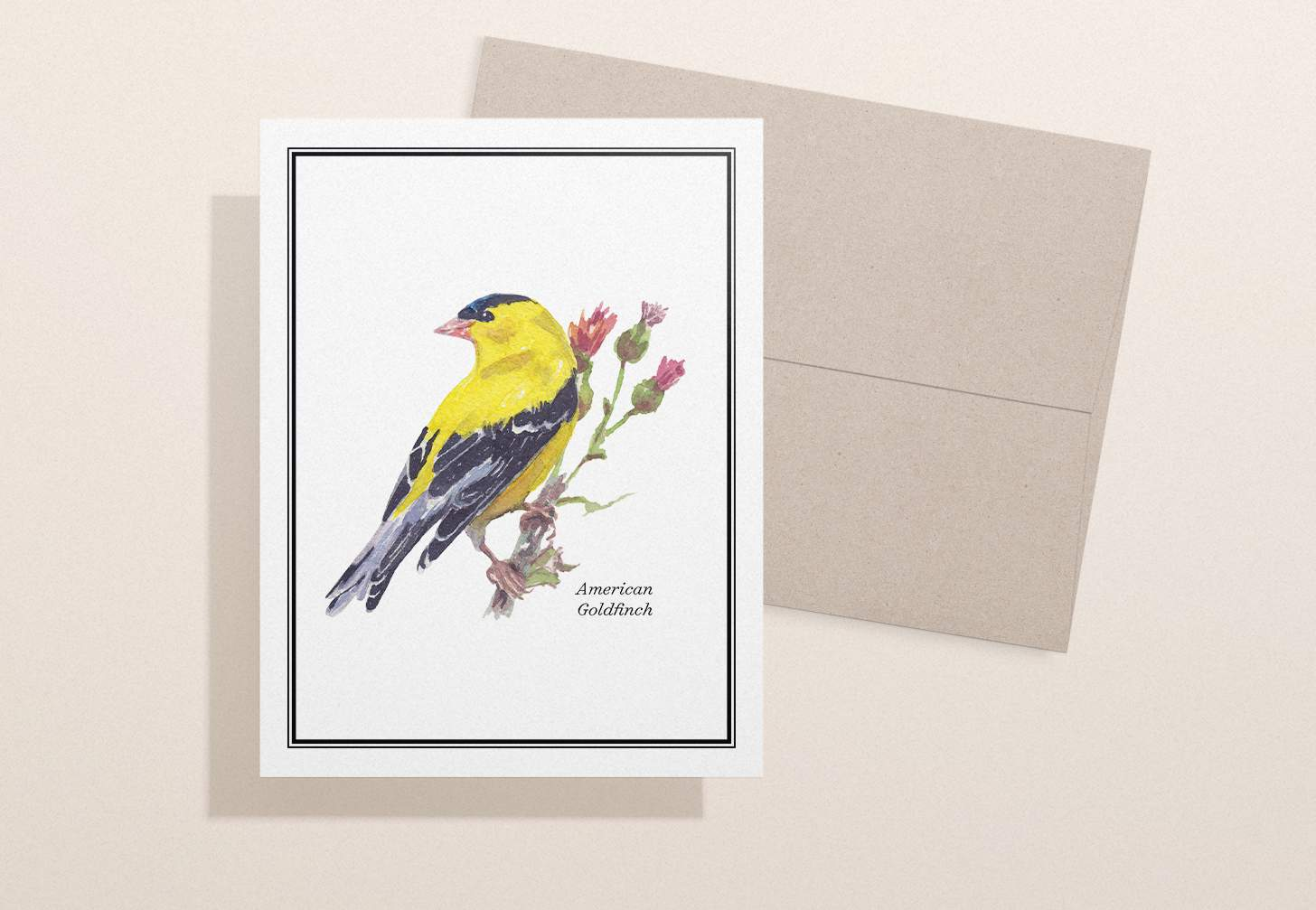 Yellow and black bird design with a brown envelope