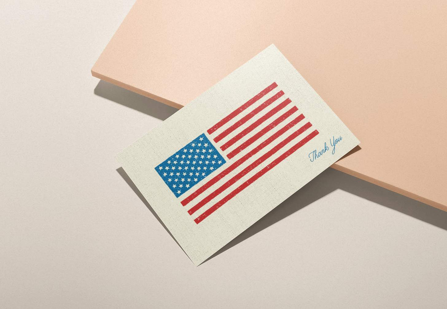American flag thank you card with pink background