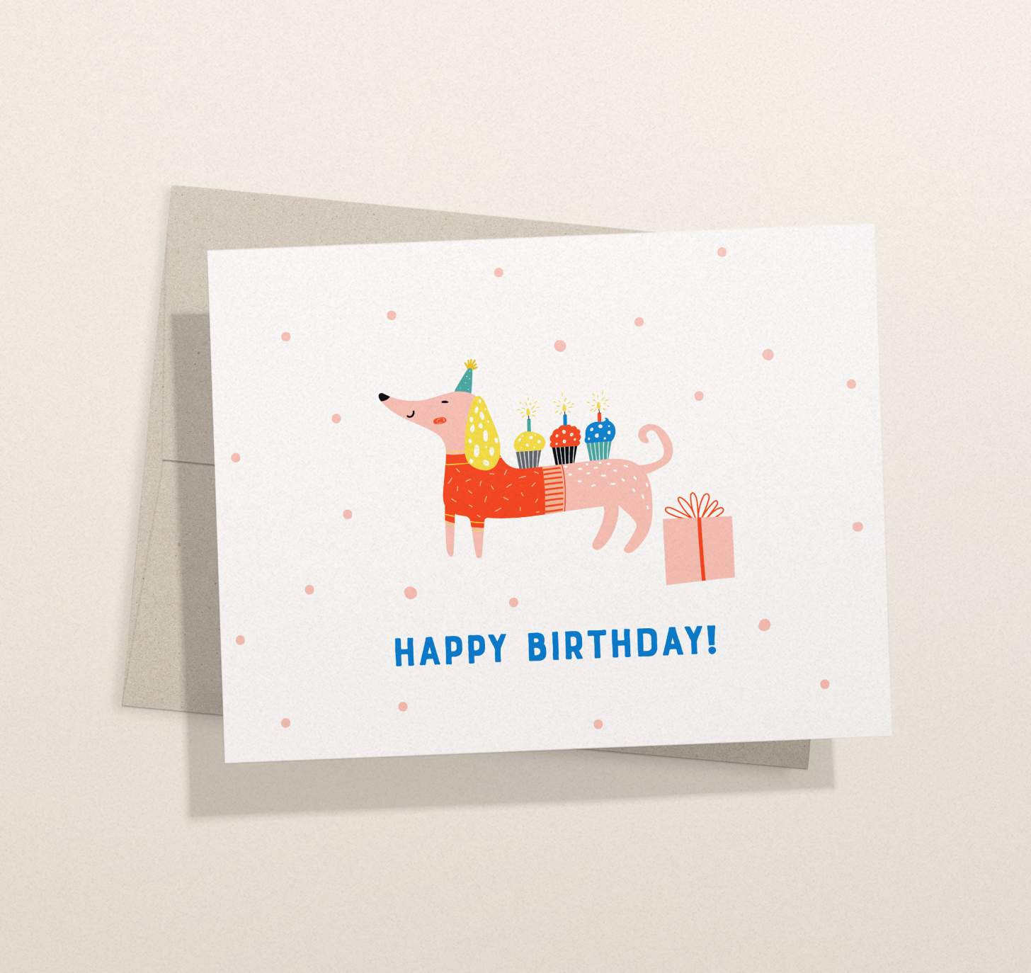 Cute dachshund with colorful cupcakes design card with envelope
