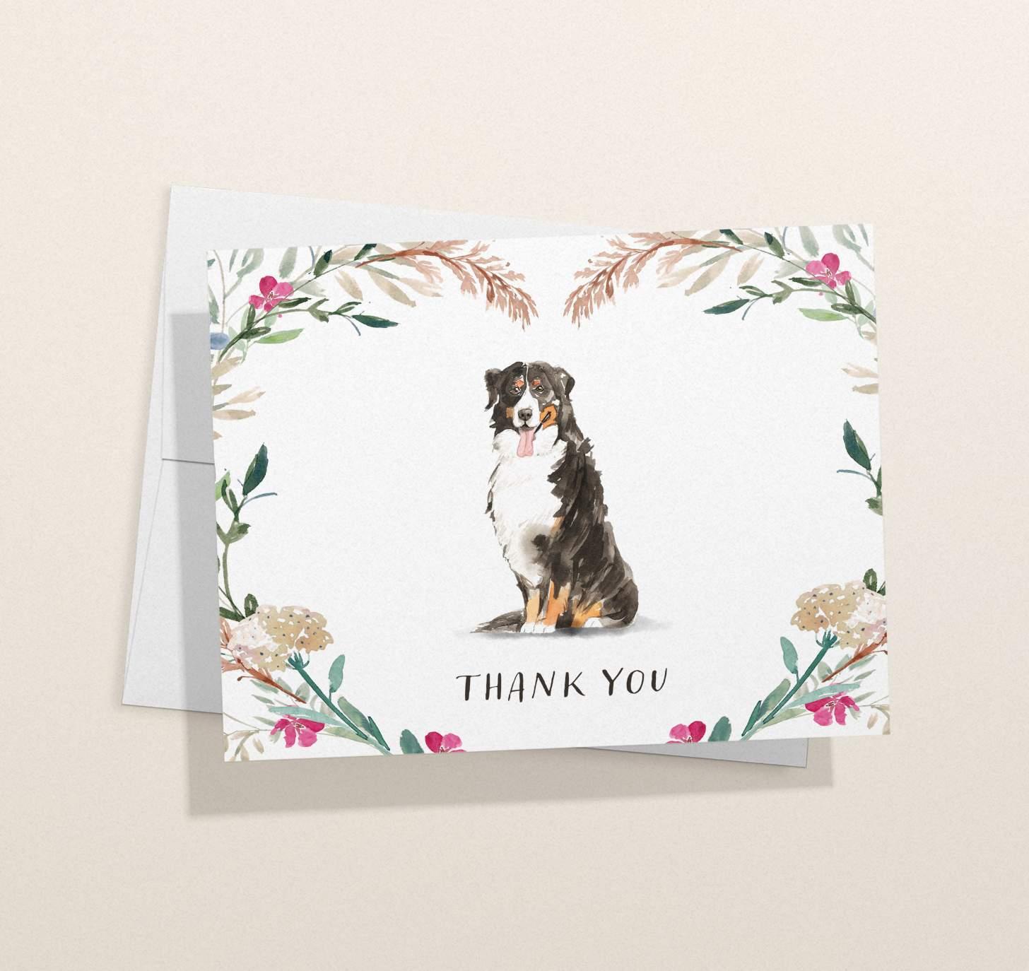 Bernese mountain dog design card with envelope