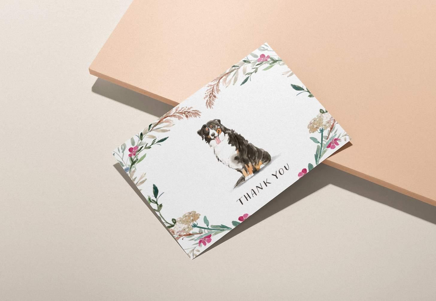 Bernese mountain dog design on pink background