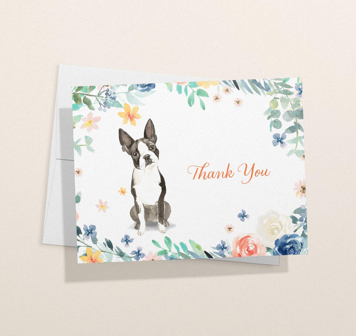 Black and white Boston terrier design card with envelope
