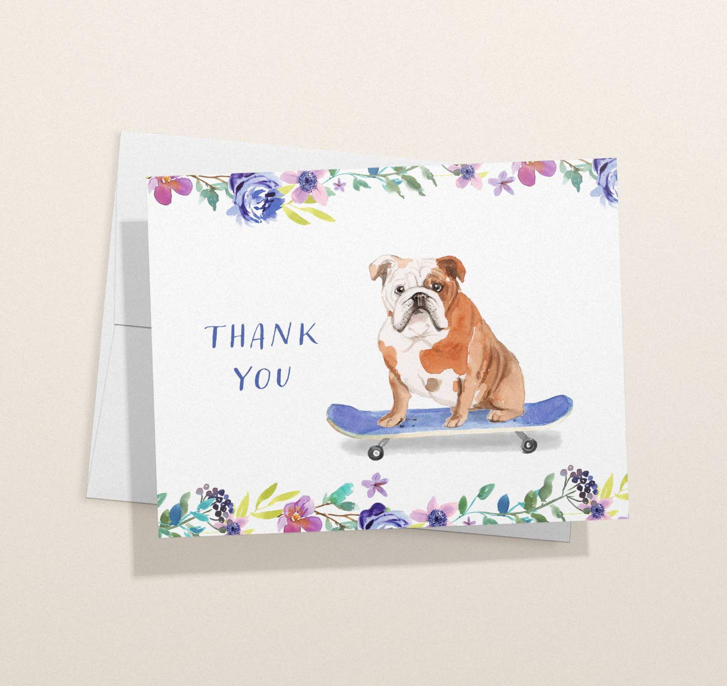 Brown and white dog riding skateboard design card with envelope