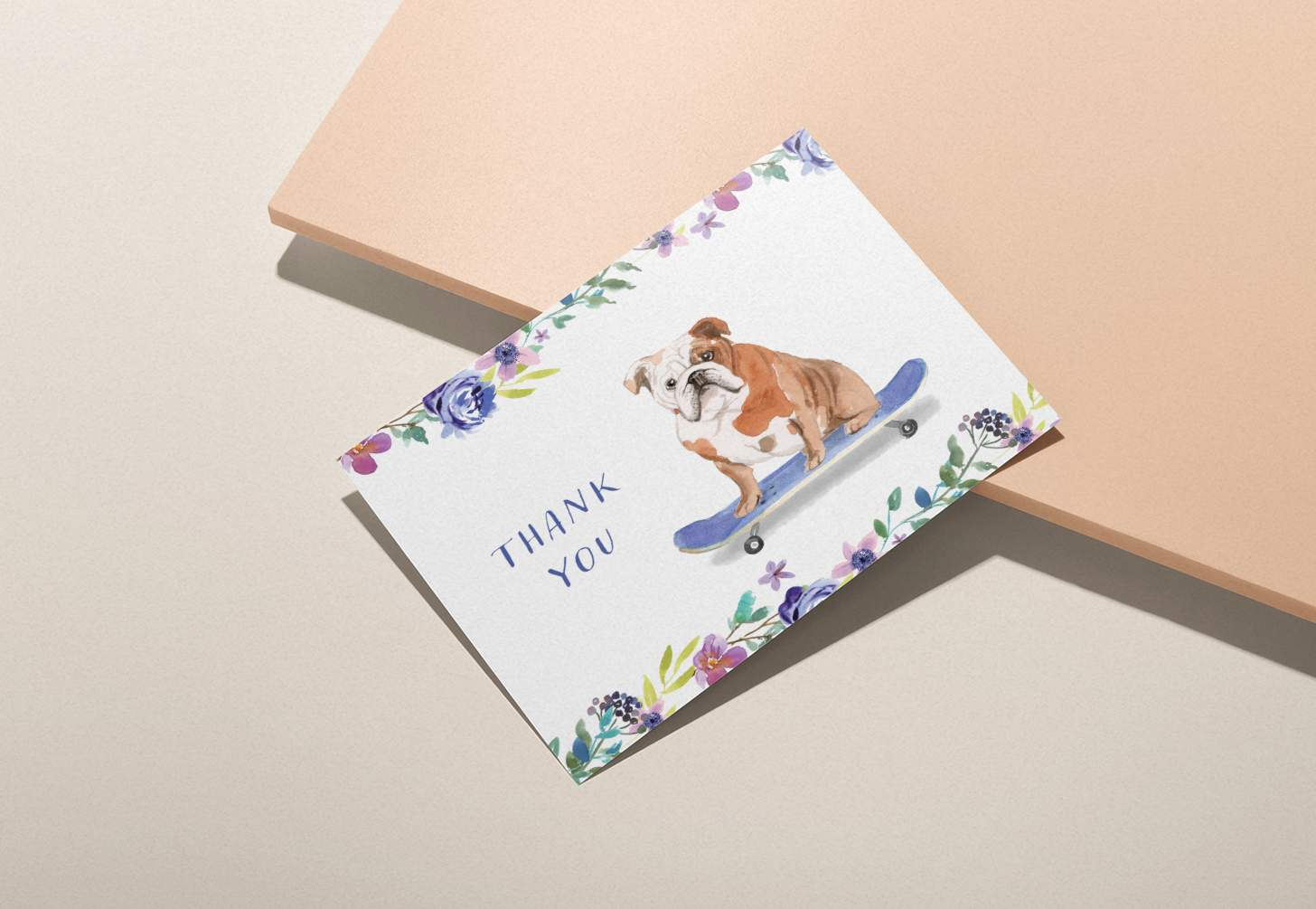 Brown and white dog riding skateboard design on pink background