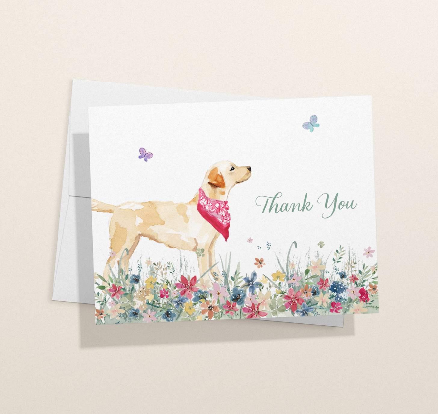 Golden Labrador design card with envelope