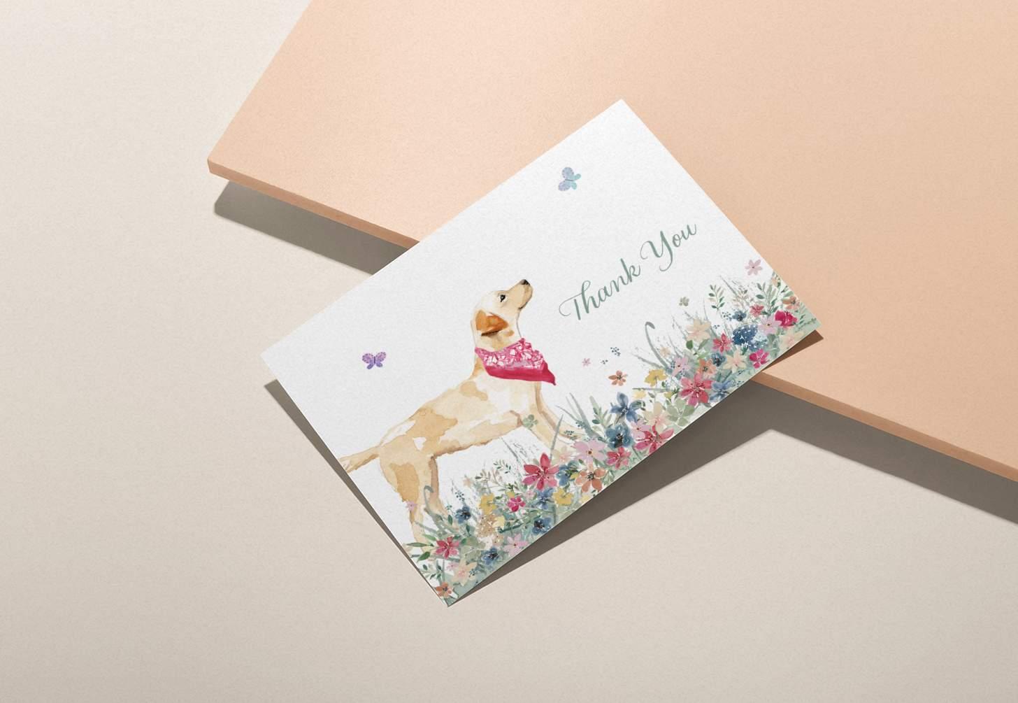 Golden Labrador design on pink background