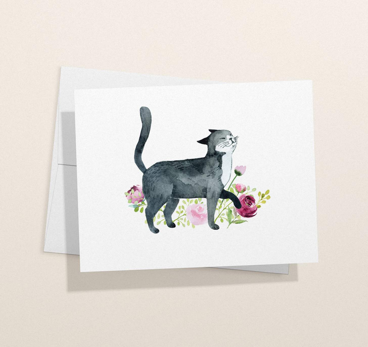 Black and white cat with flowers design card with envelope