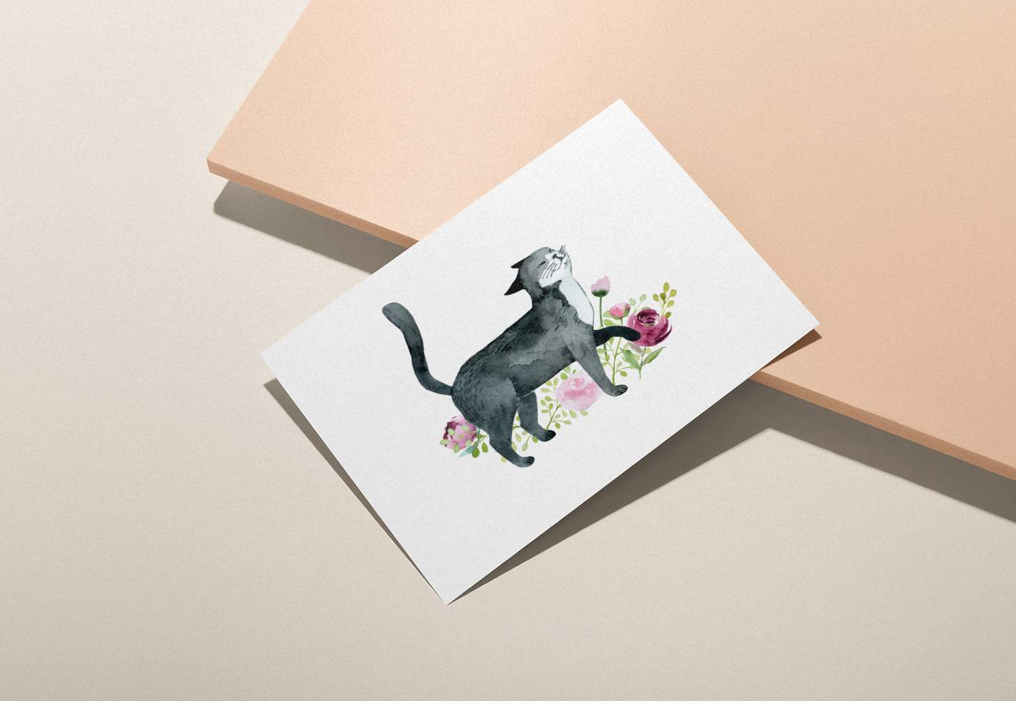 Black and white cat with flowers design card on pink background