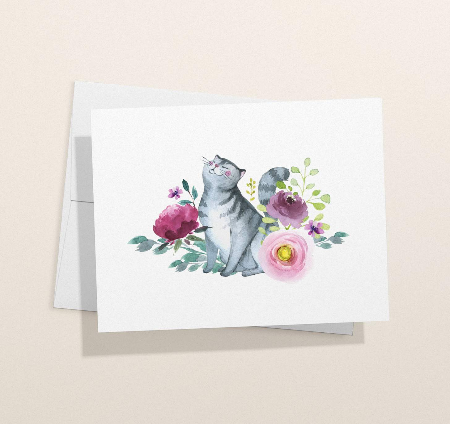 Gray striped cat with flowers design card with envelope