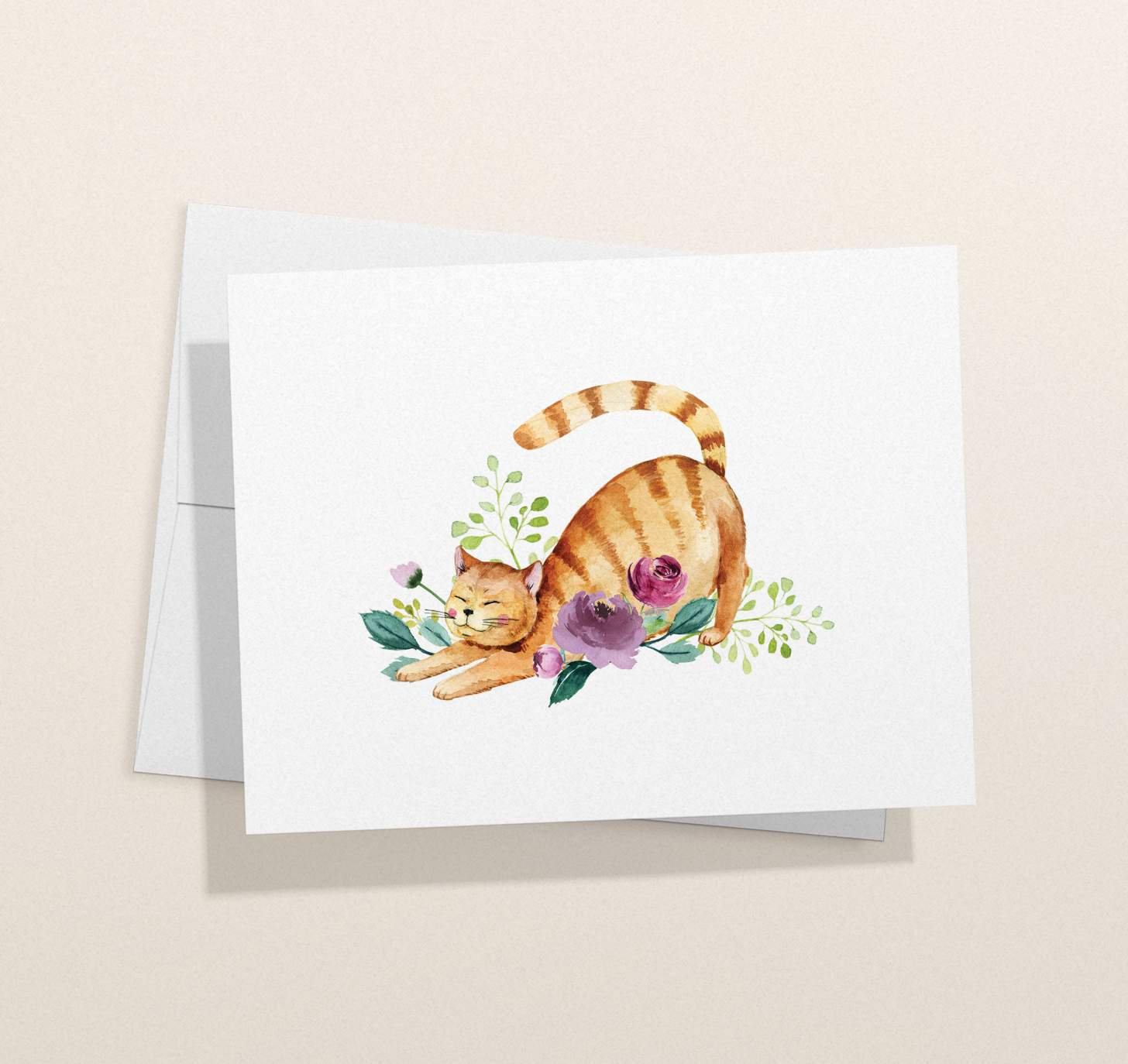 Orange striped cat with flowers design card with envelope