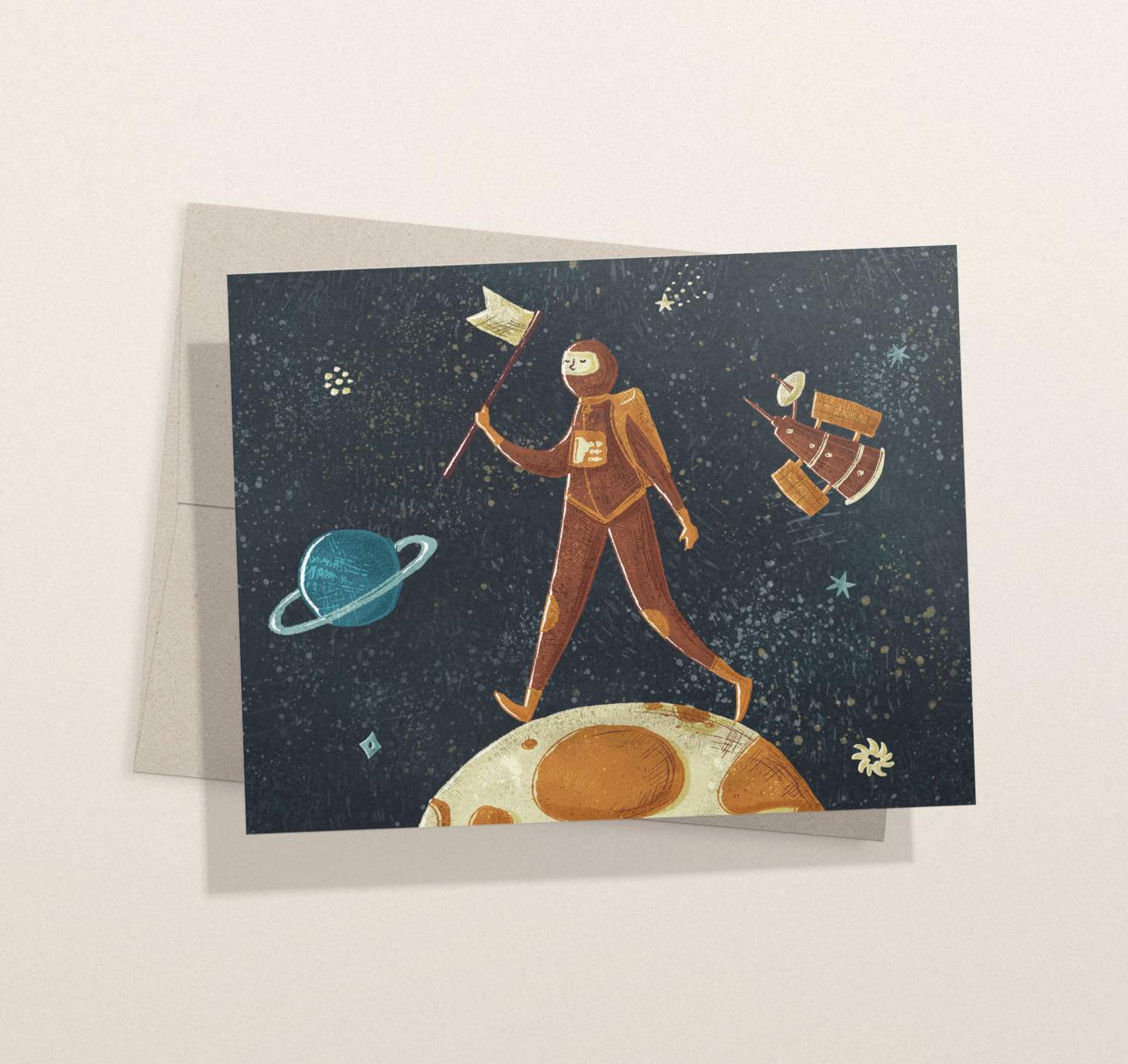 Astronaut on moon design card with envelope