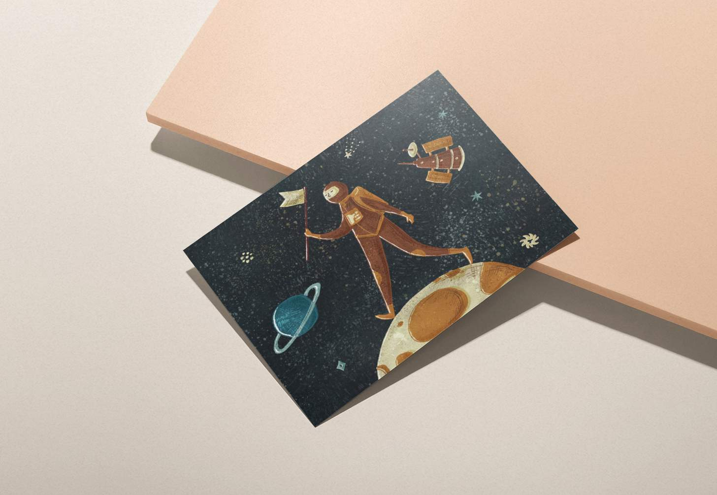 Astronaut on moon design card with pink background