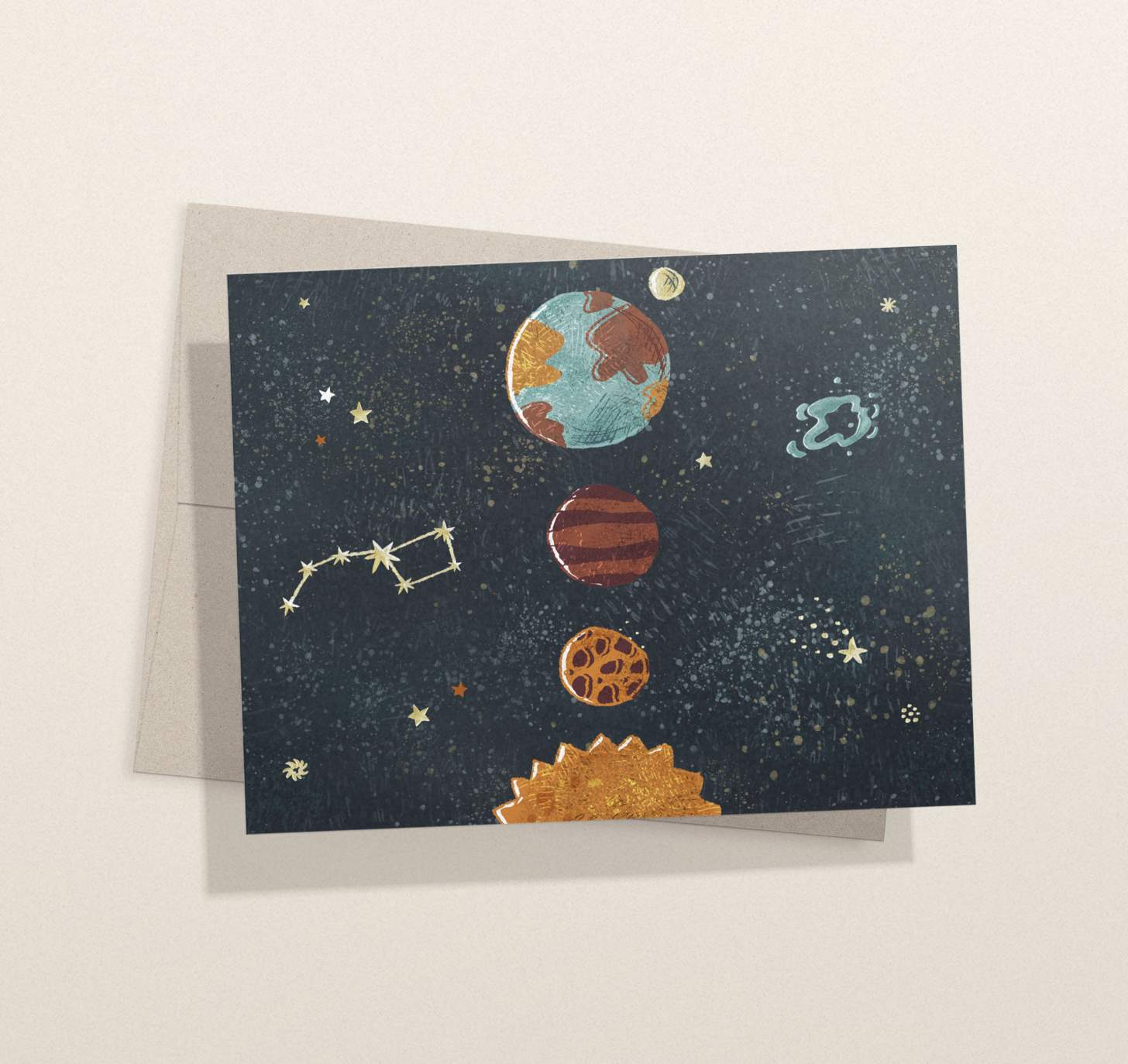 solar system planets design card with envelope