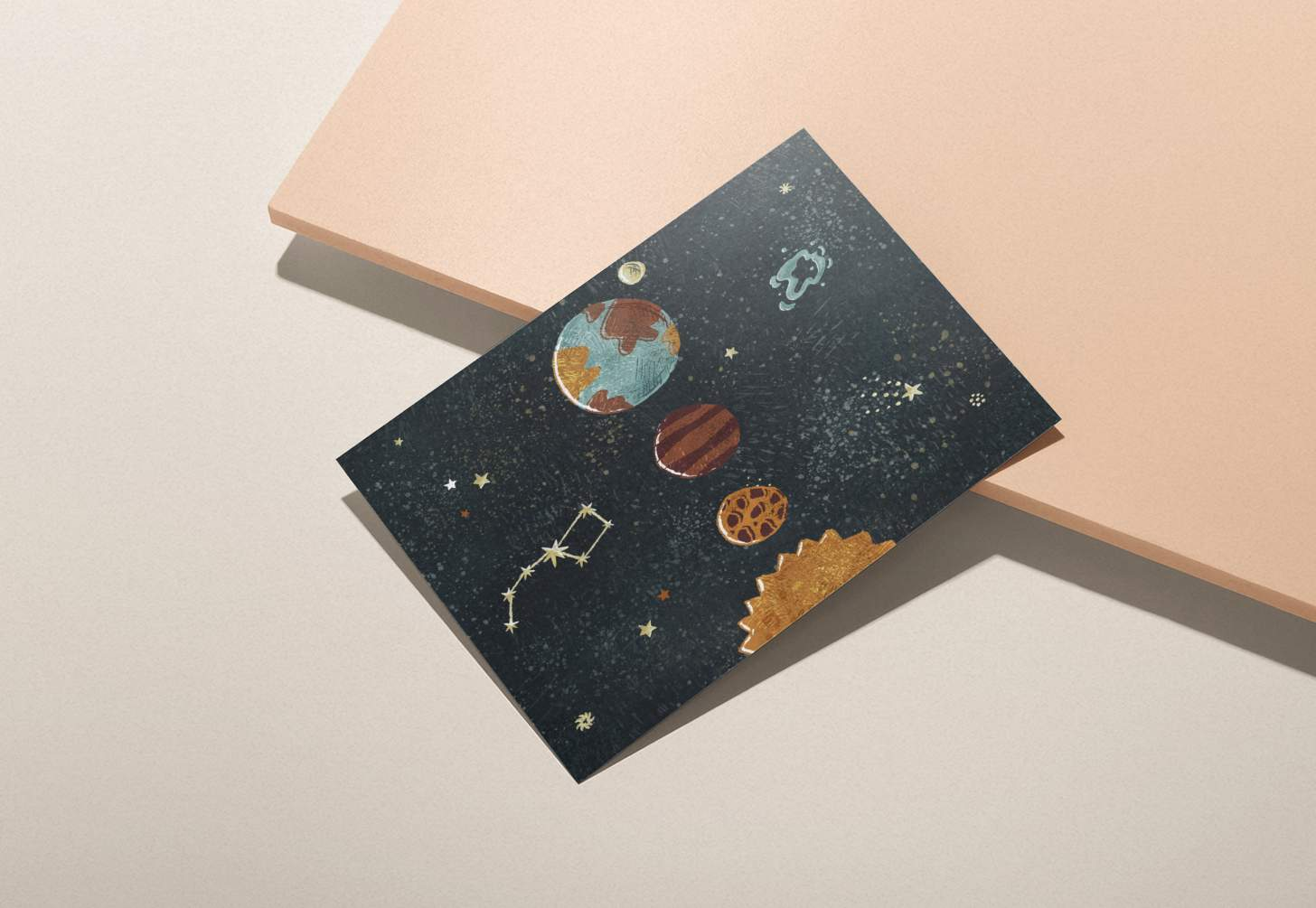 solar system planets design card with pink background