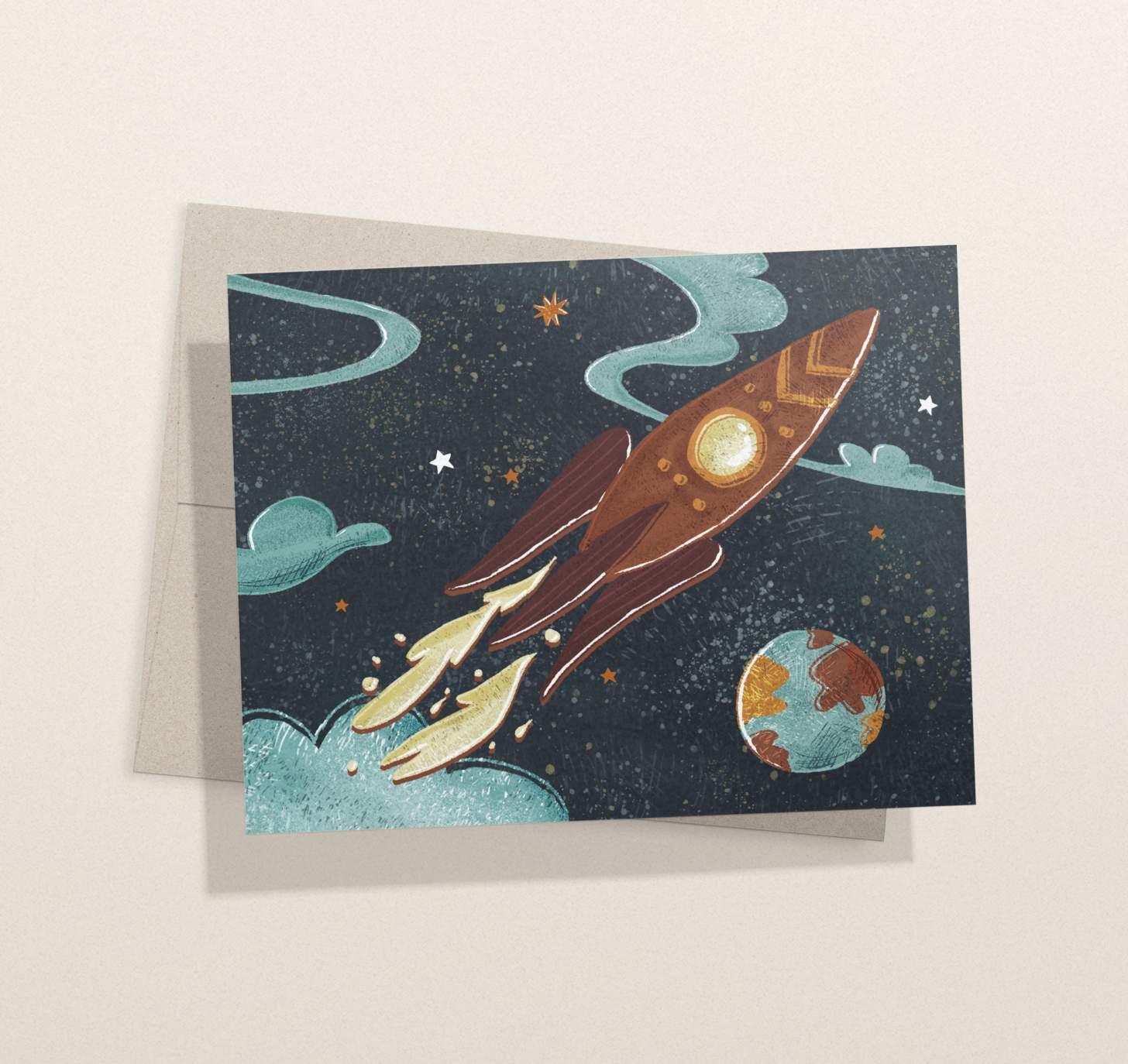 spaceship blast off design card with envelope