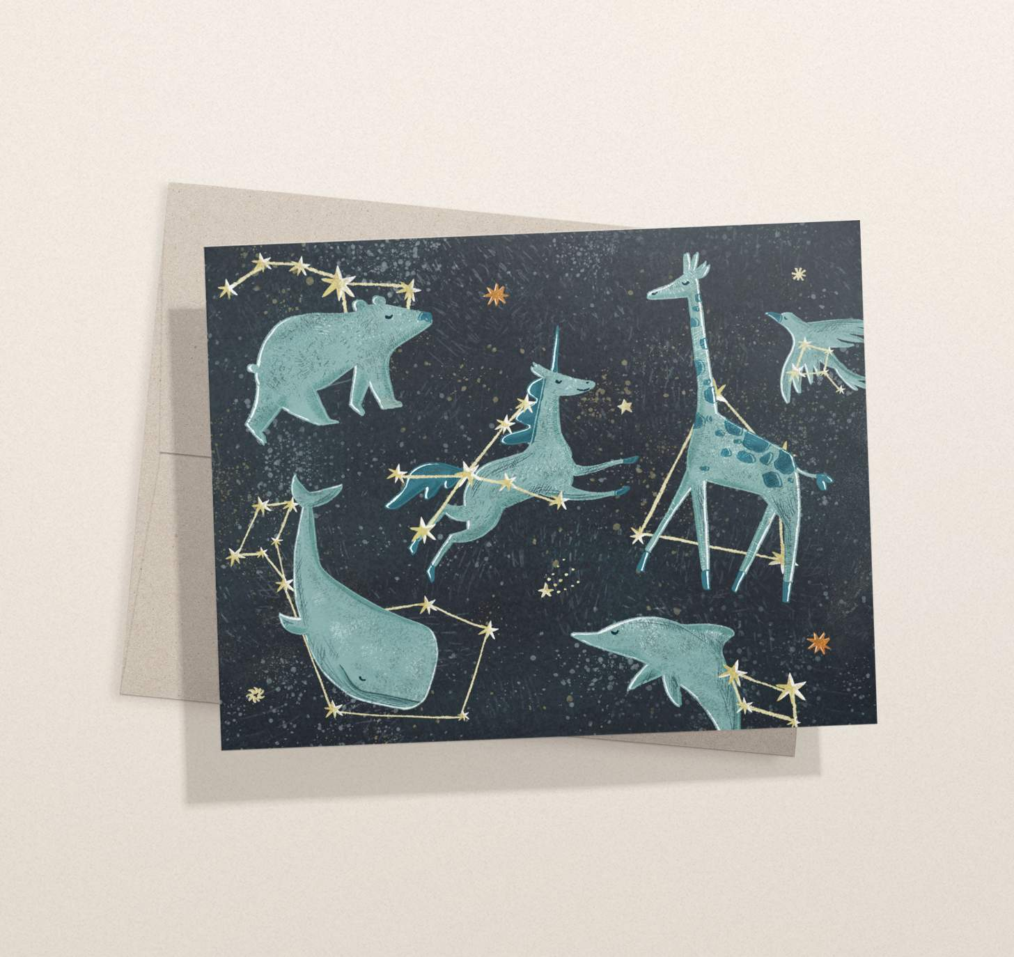 Animal constellations design card with envelope