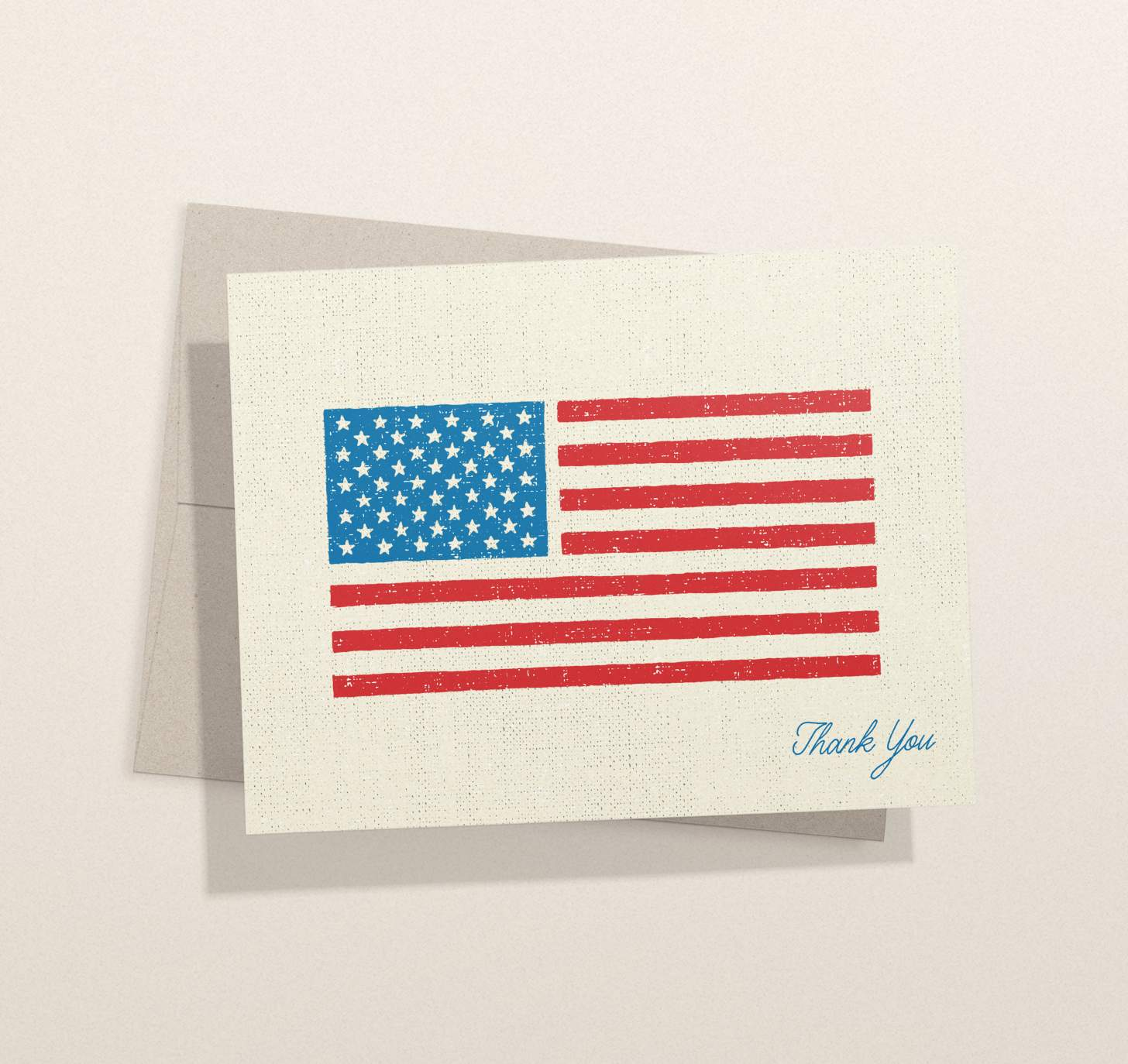 American flag thank you card with envelope