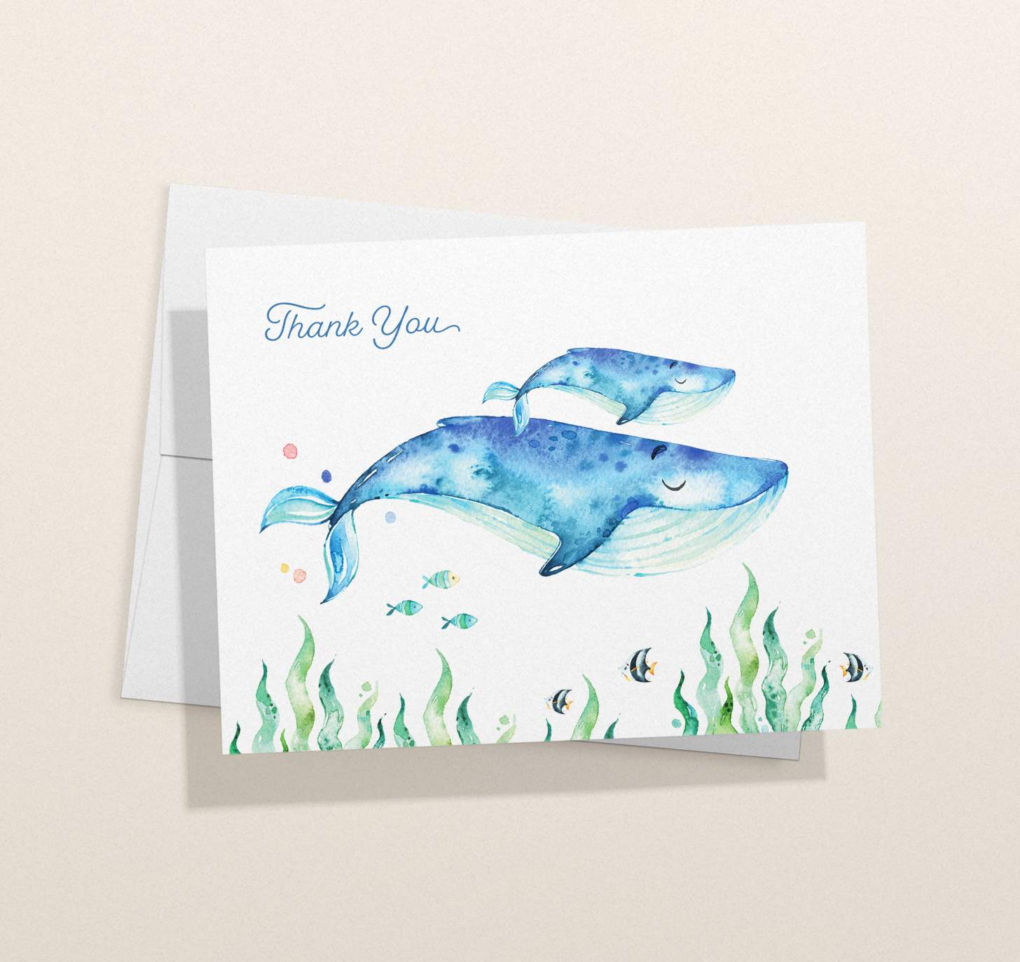Mother and baby blue whale design with tropical fish with card with envelope