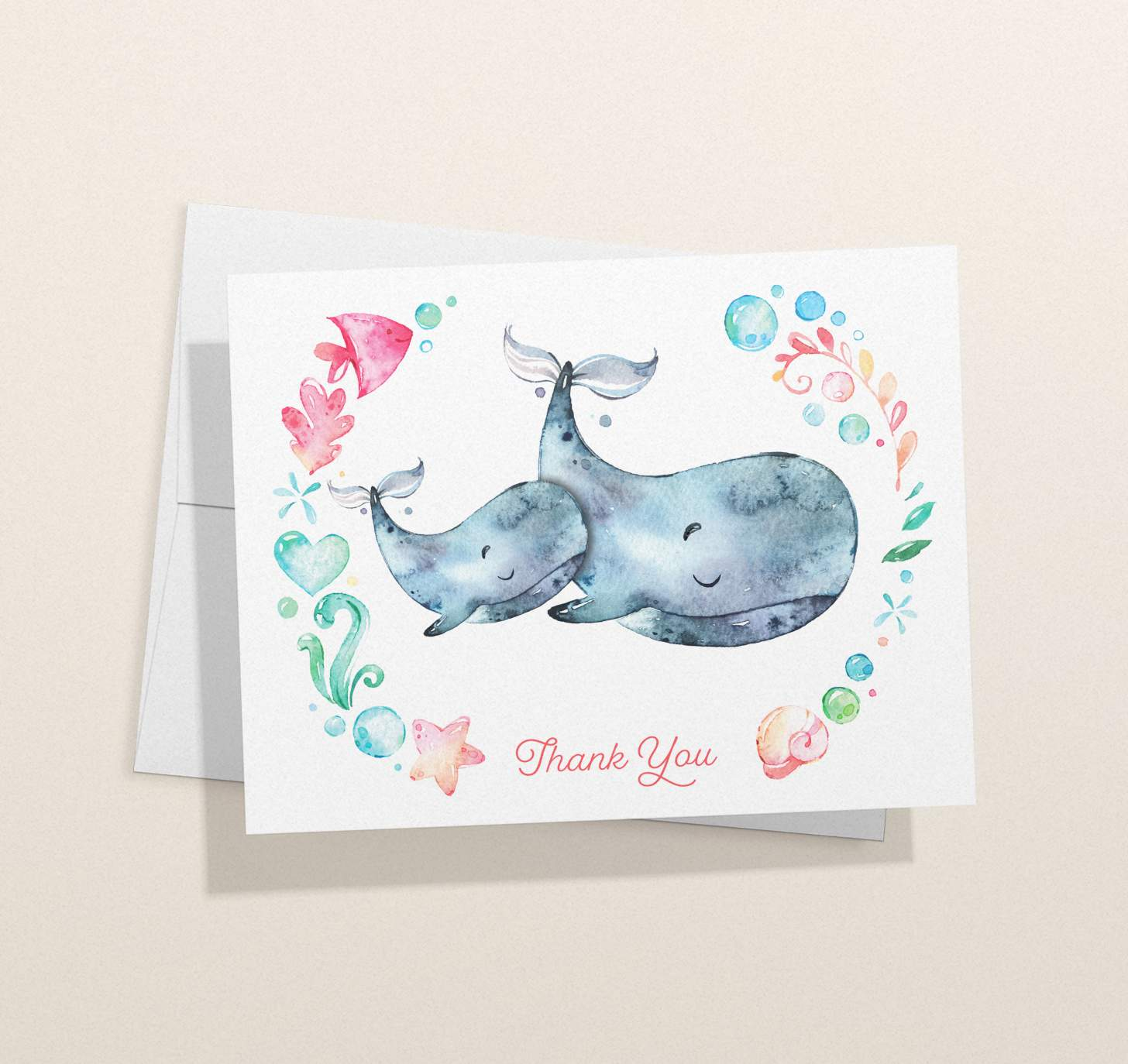 Mother and baby Gray whale design with nautical border with card with envelope