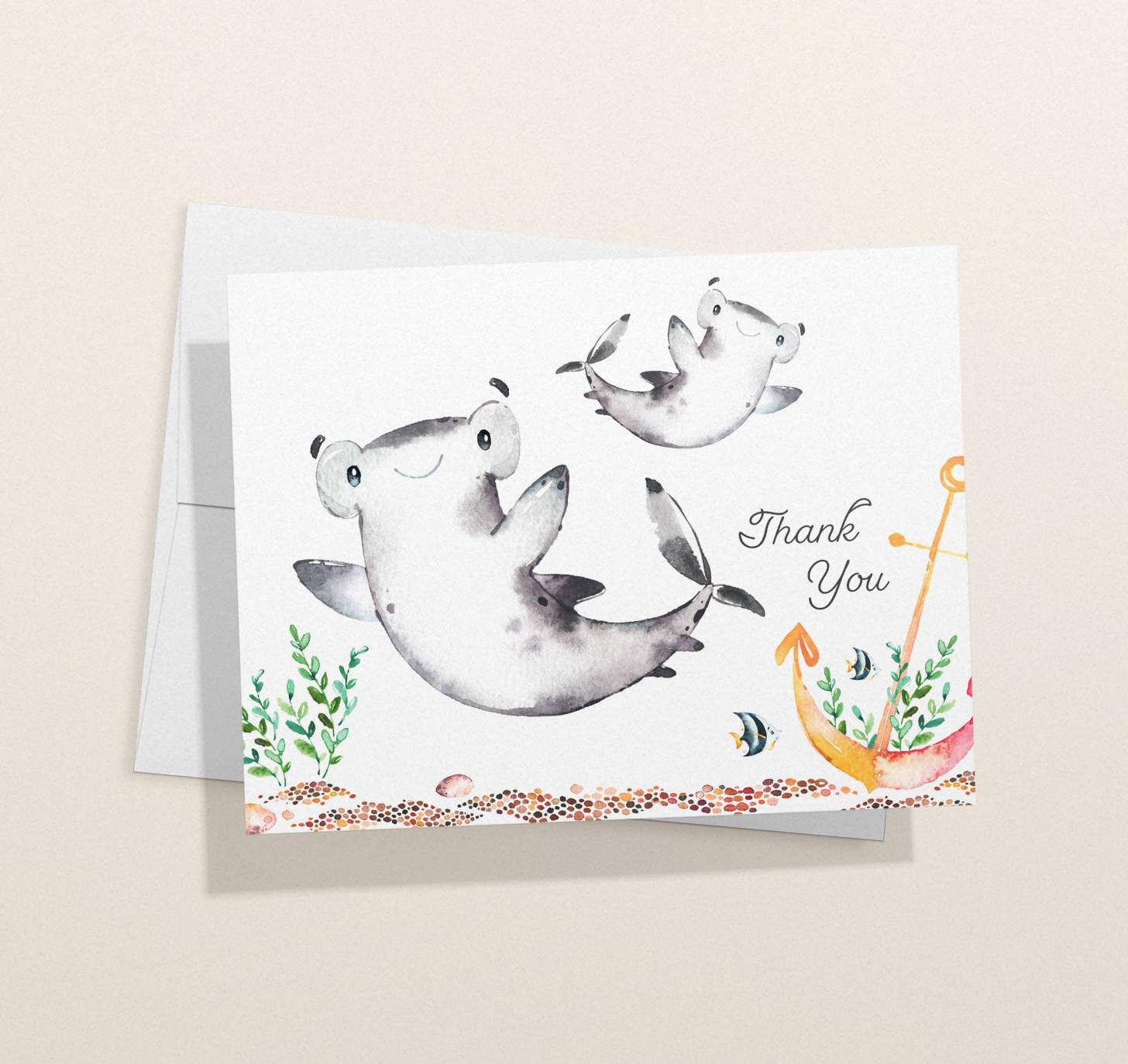 Mother and baby shark design with card with envelope