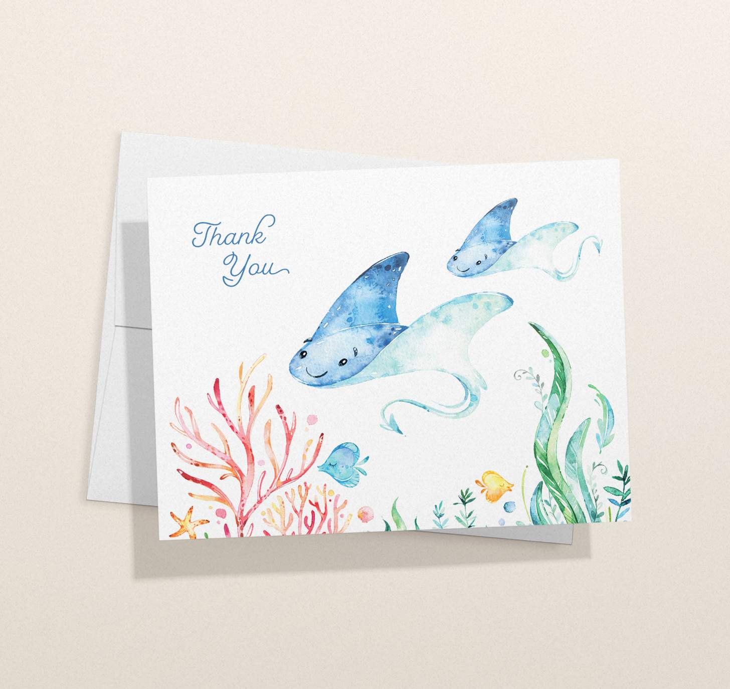 Mother and baby blue sting ray design with tropical fish with card with envelope