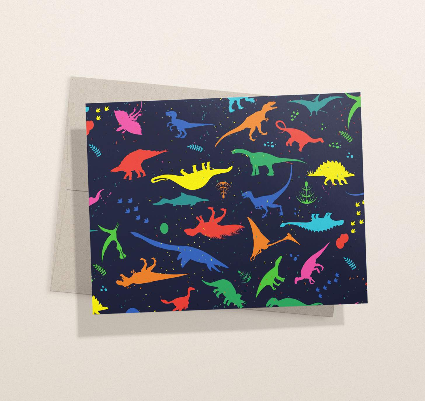 Neon dinosaurs design with envelope