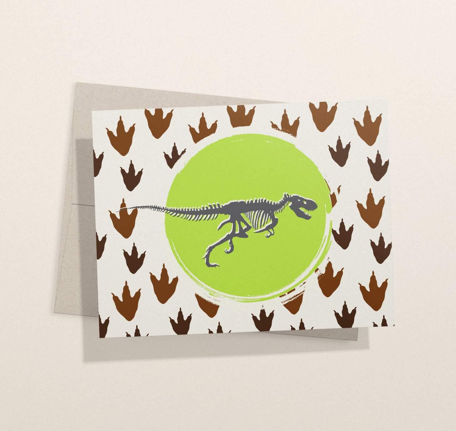 T-Rex bones with footprints design card with envelope