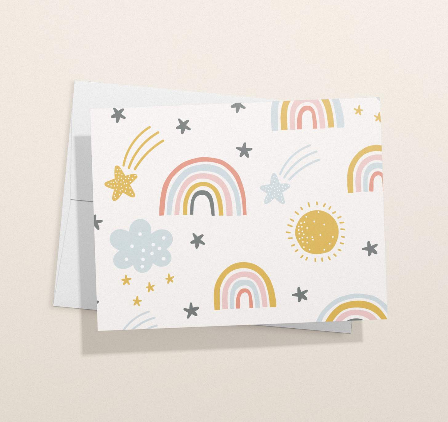 Colorful rainbow, sun, clouds, shooting stars pattern with envelope
