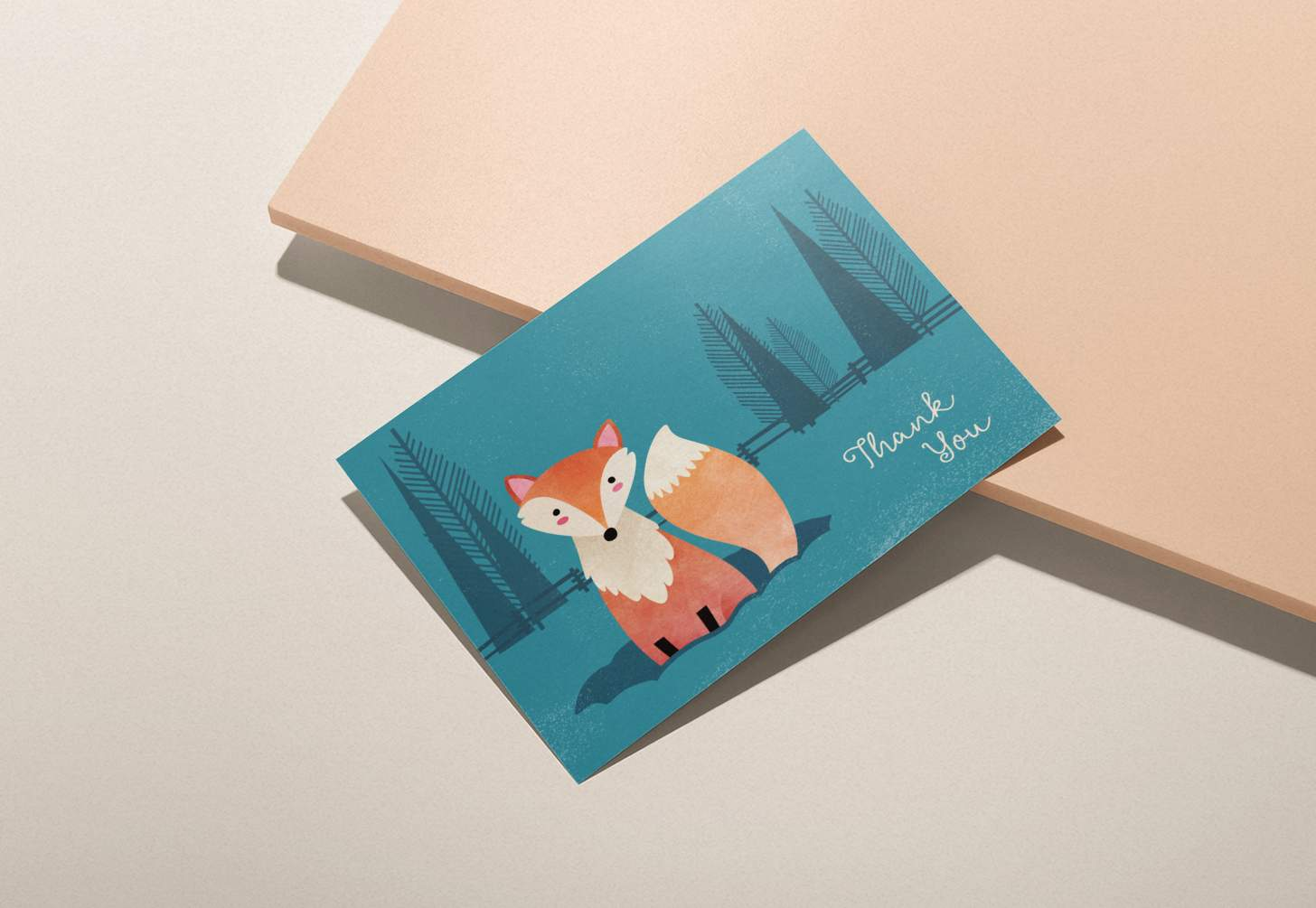 Cute orange fox in blue forest design on pink background
