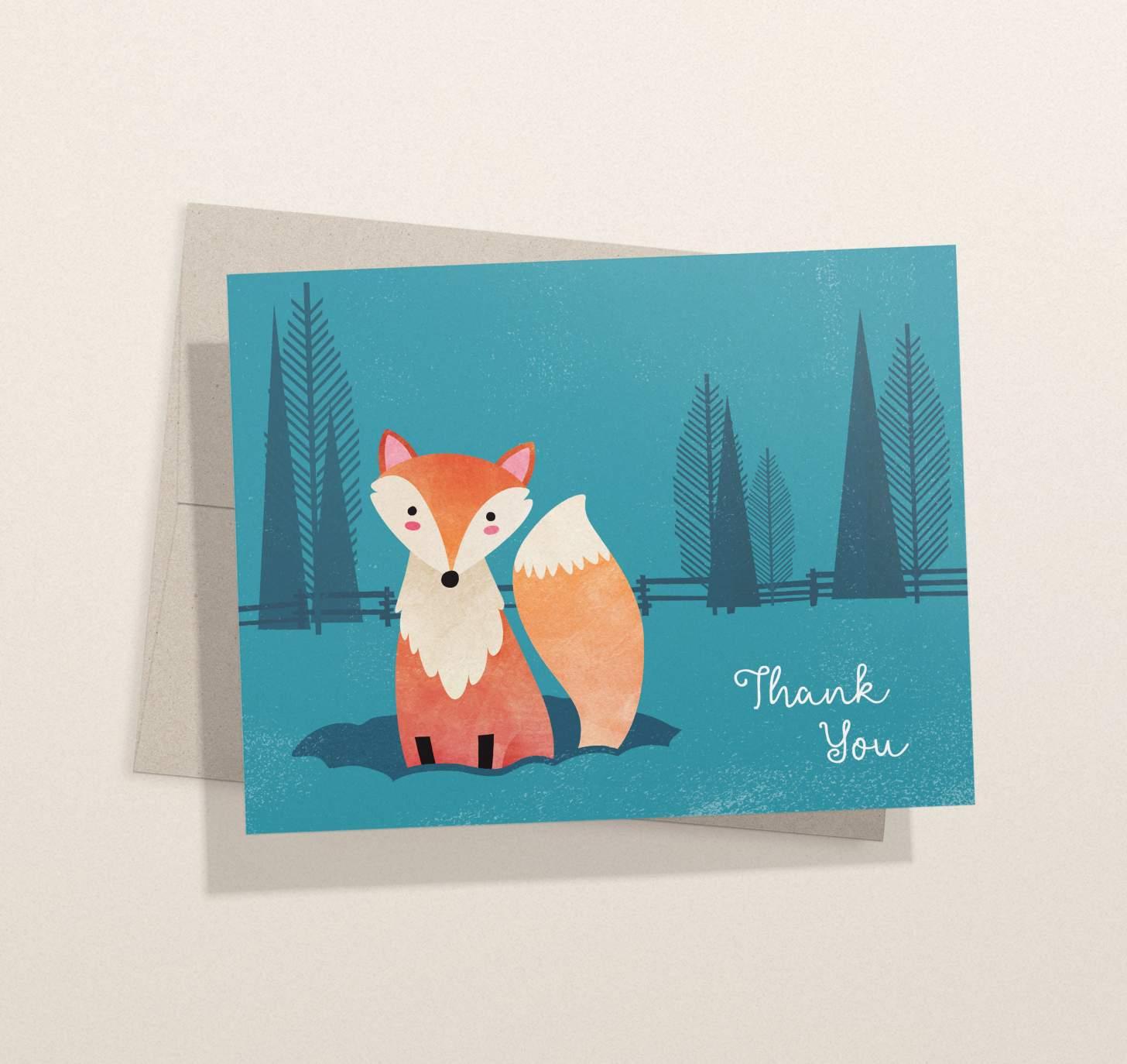 Cute orange fox in blue forest design with envelope