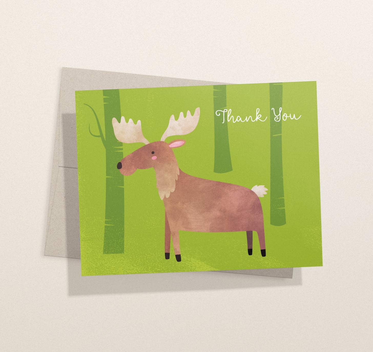 Cute brown moose on green forest design with envelope