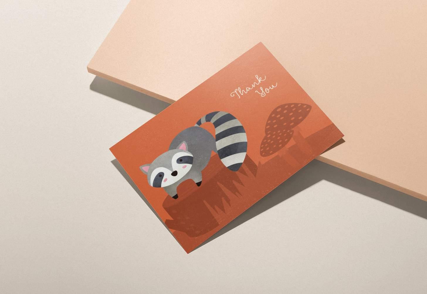 Cute grey raccoon on orange forest design on pink background