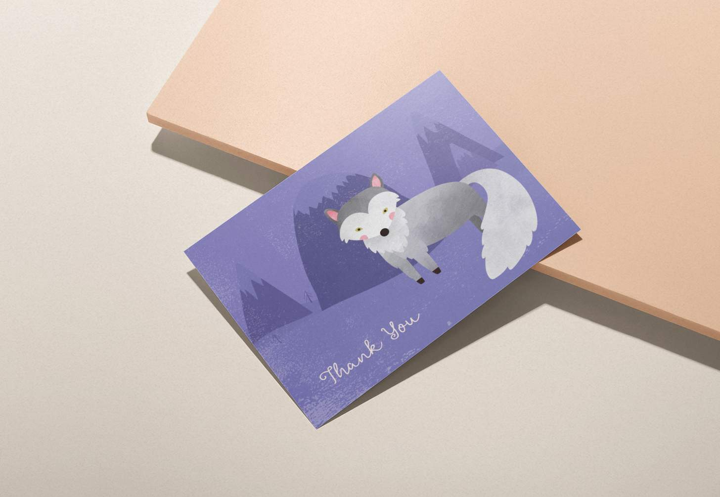 Cute grey wolf on purple snowy forest design on pink background