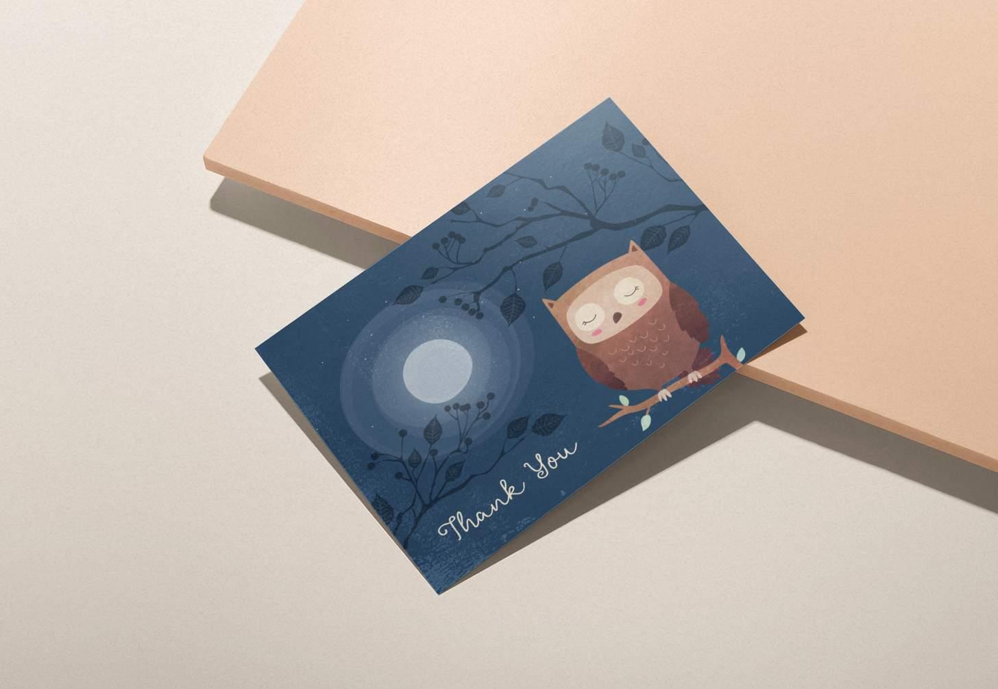 Cute brown owl on dark blue nighttime design on pink background