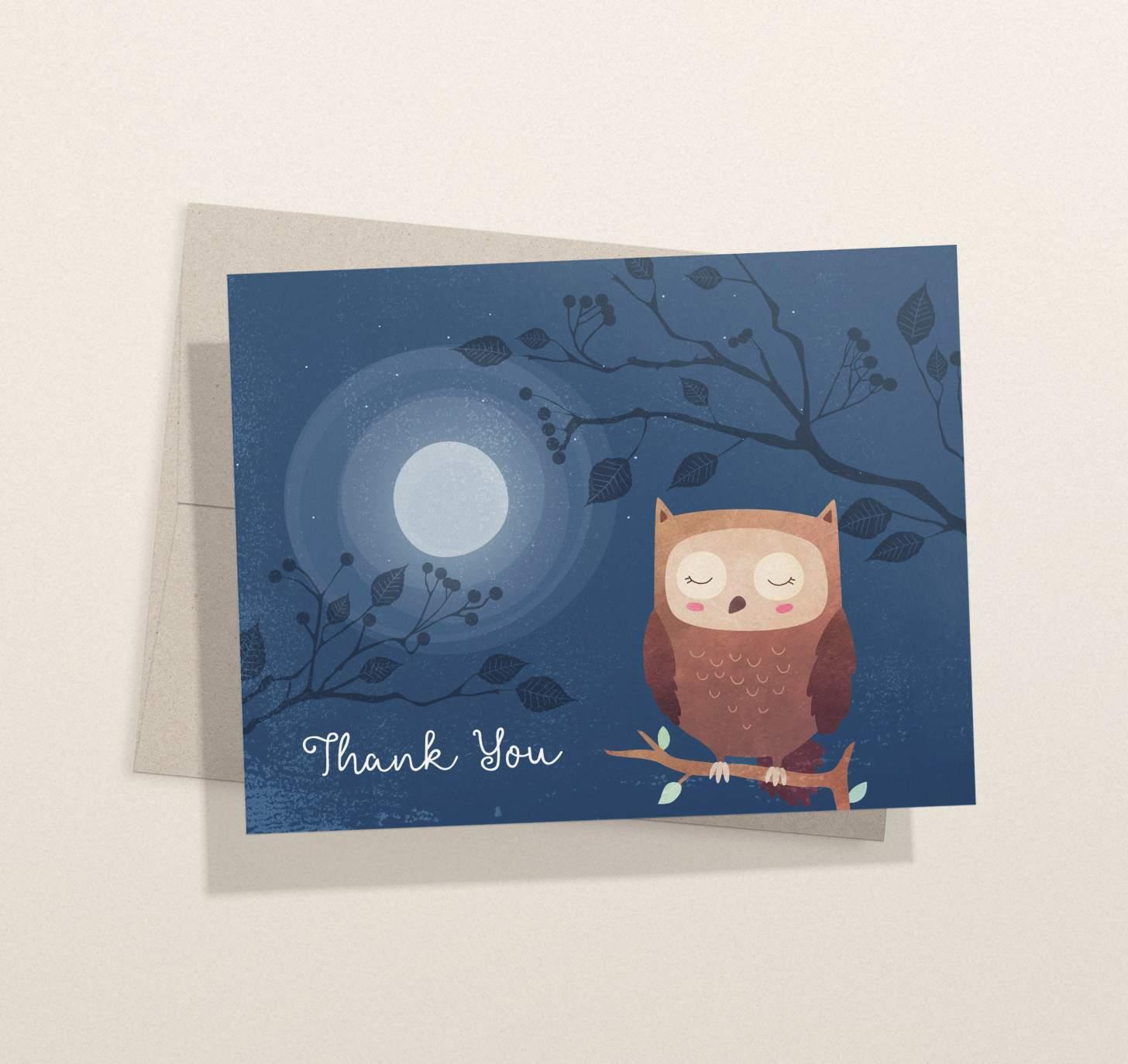 Cute brown owl on dark blue nighttime design with envelope