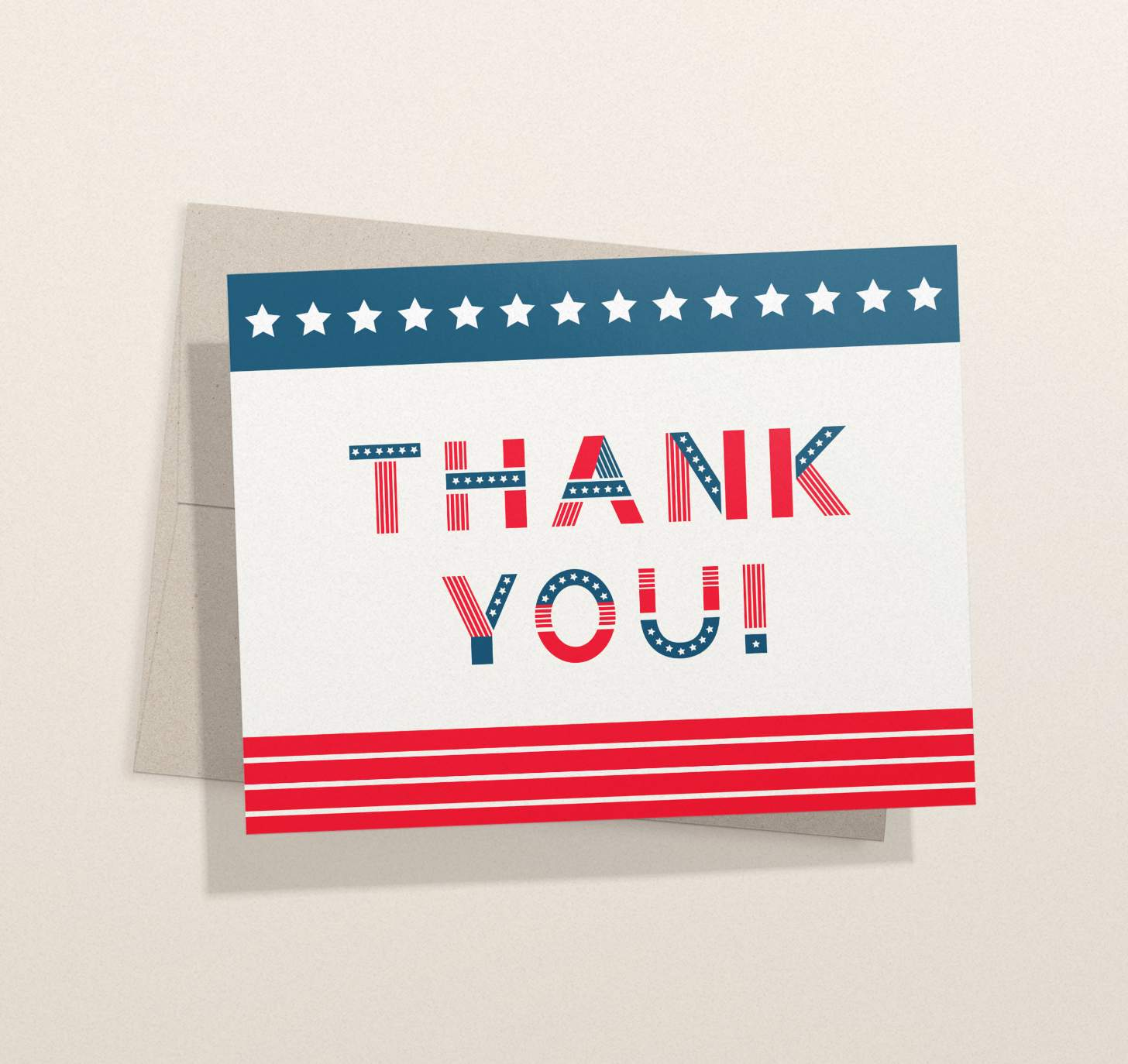 Card with American flag themed text with envelope