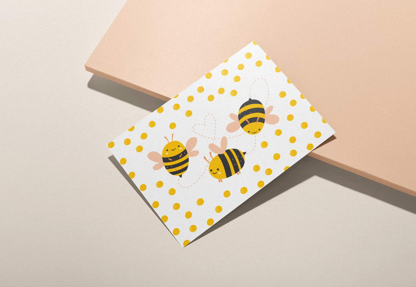 Bumble bee trio design card with pink background