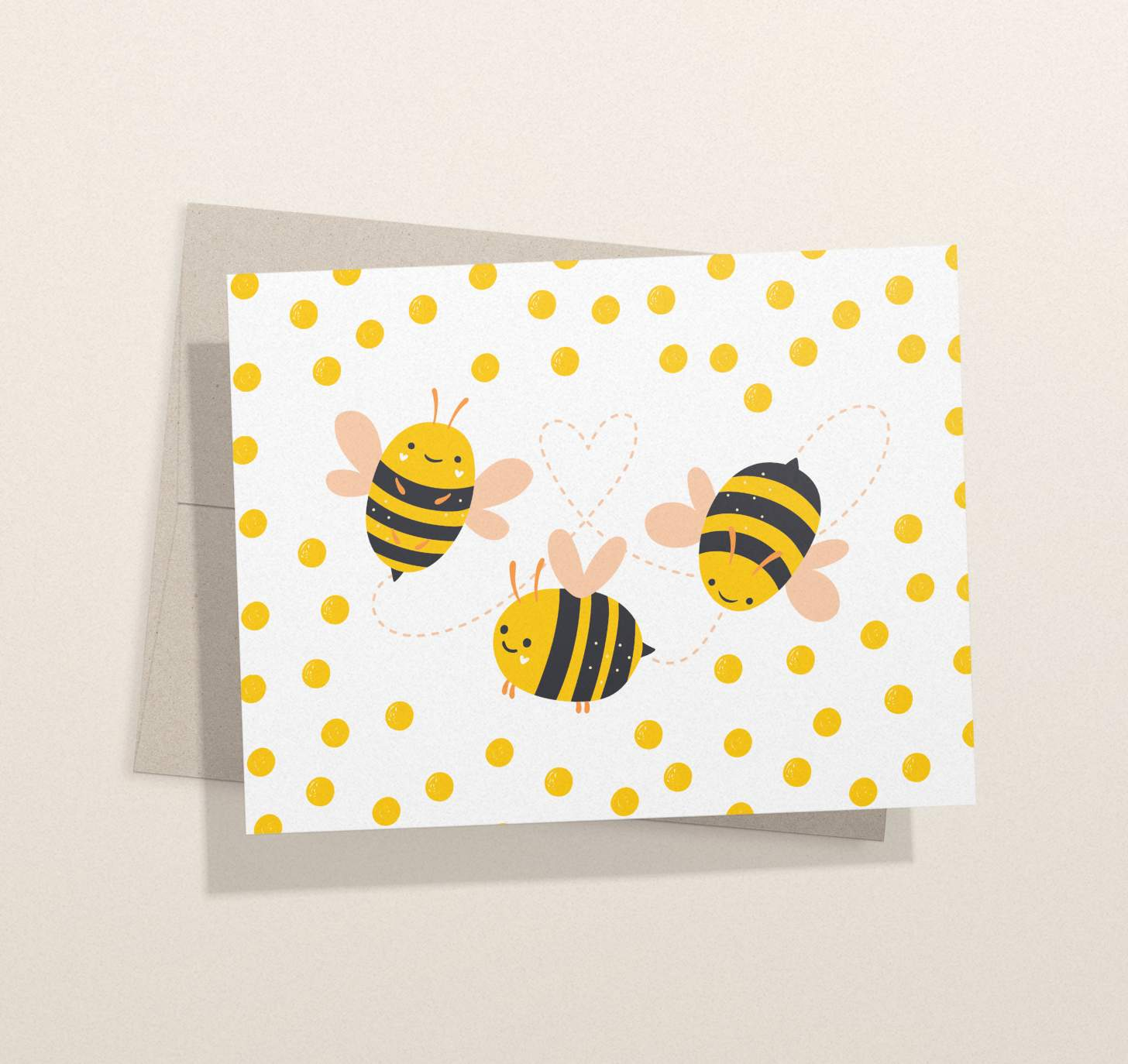 Cute bumble bee trio design card with envelope