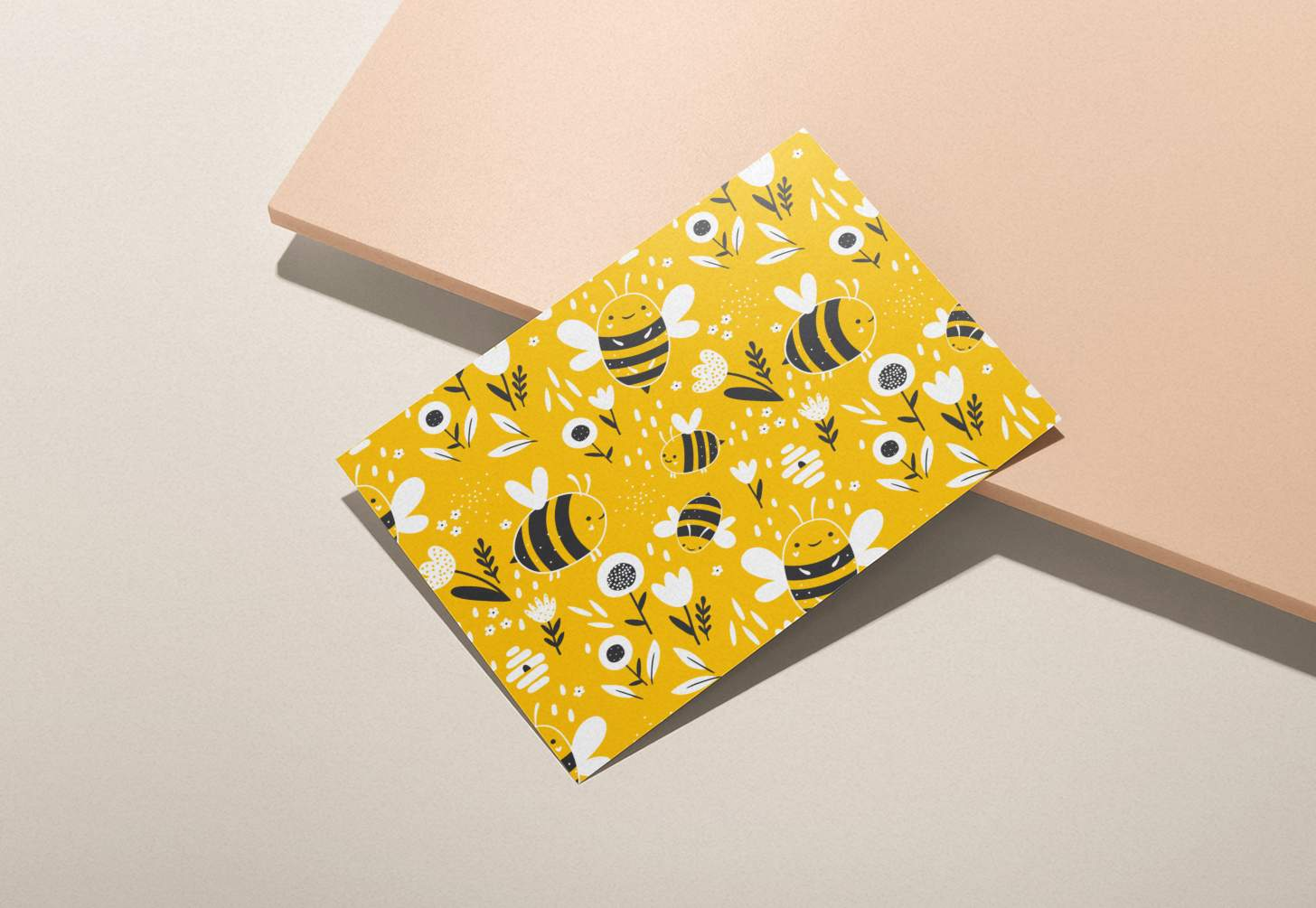 Yellow bumble bees design card with pink background