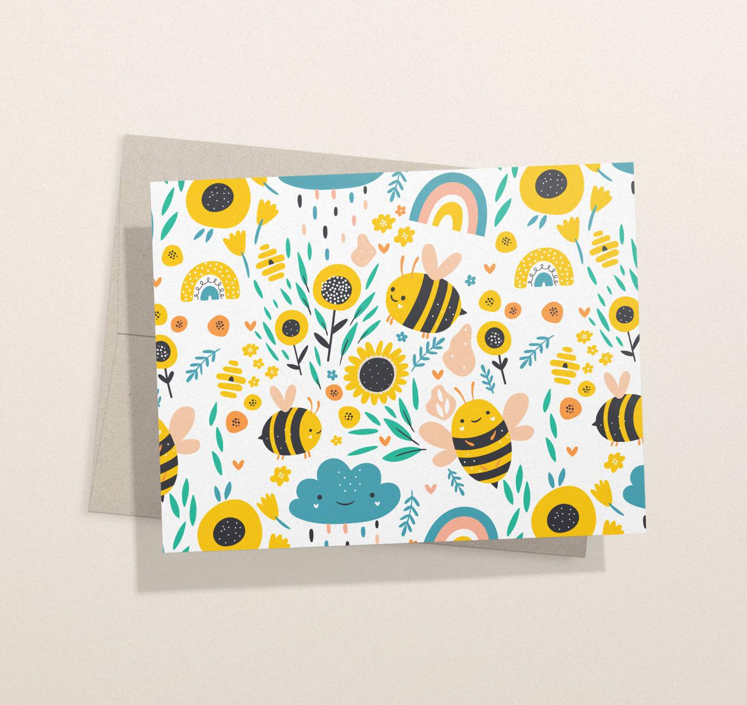 Cute Smiling bumble bees with flowers and rainbows design card with envelope